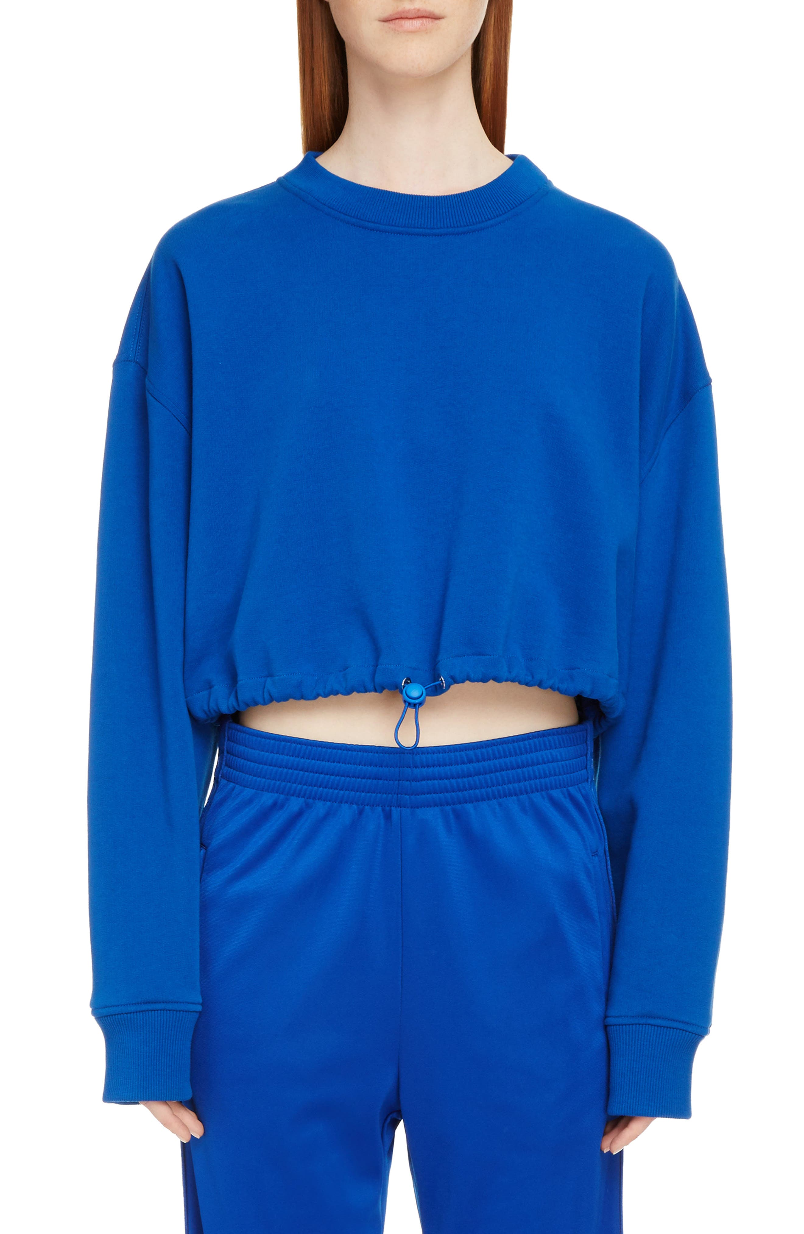 Crop Sweatshirt,                         Main,                         color, Electric Blue