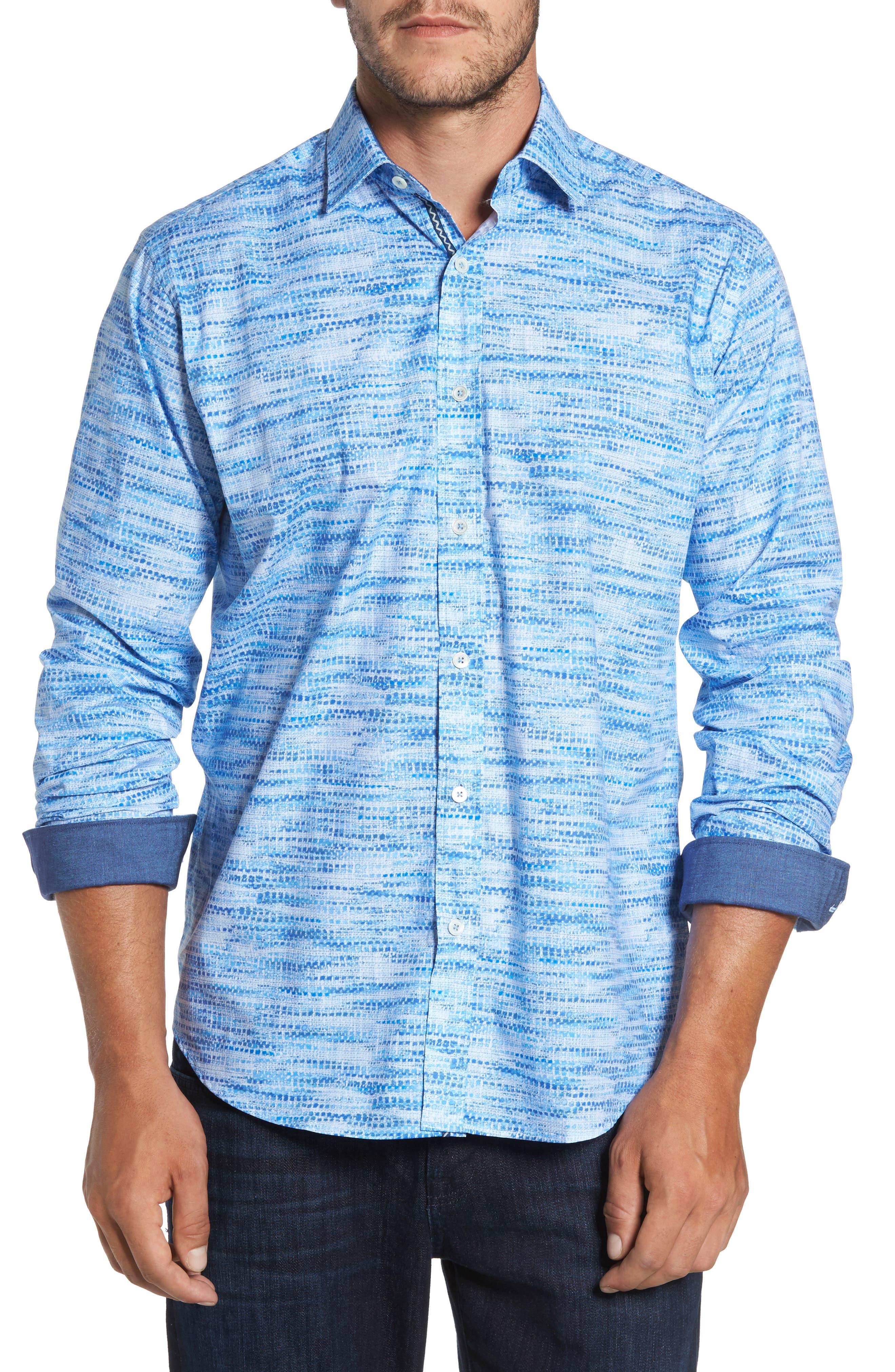 Classic Fit Weave Print Sport Shirt,                         Main,                         color, Classic Blue