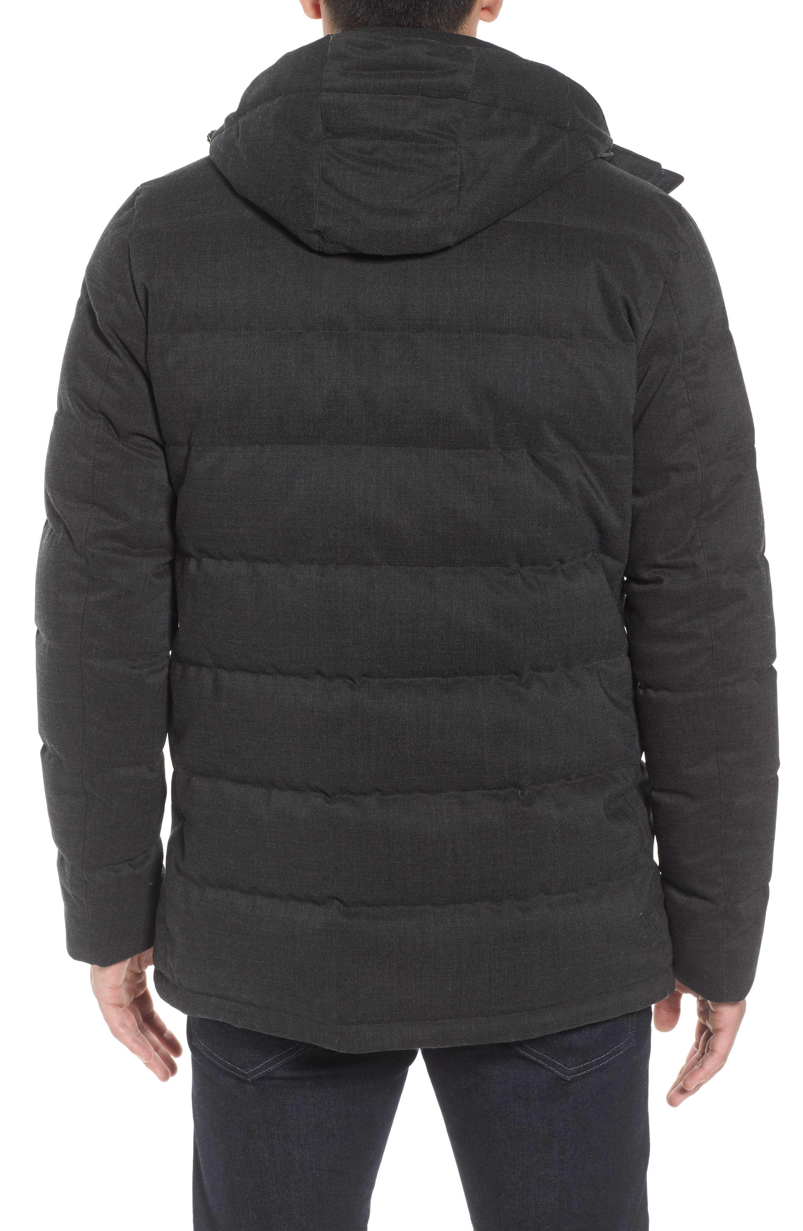 Techno Quilted Waterproof Down Jacket,                             Alternate thumbnail 2, color,                             Charcoal