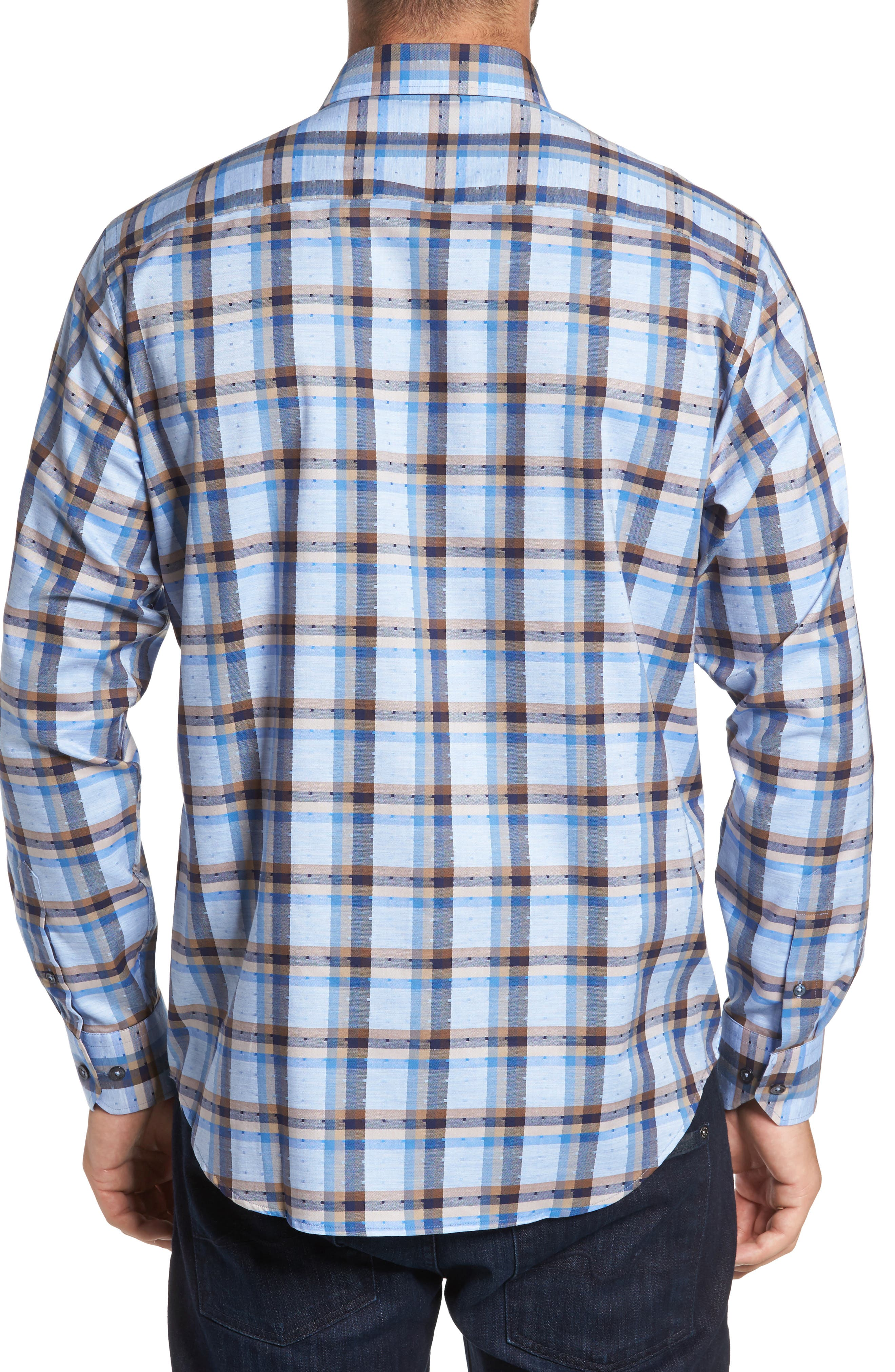 Classic Fit Dobby Check Sport Shirt,                             Alternate thumbnail 2, color,                             Sky