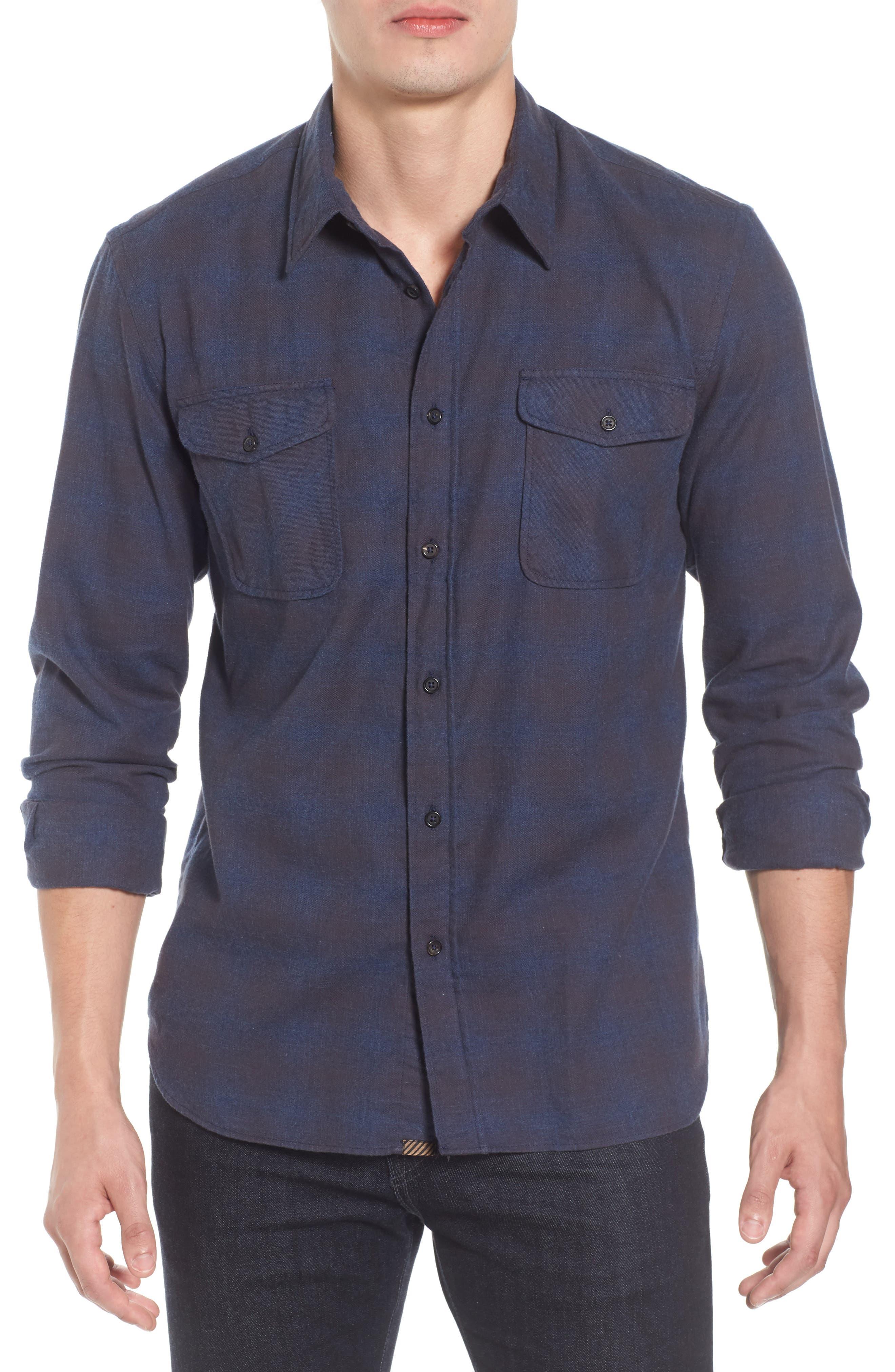Graham Standard Fit Check Sport Shirt,                             Main thumbnail 1, color,                             Navy