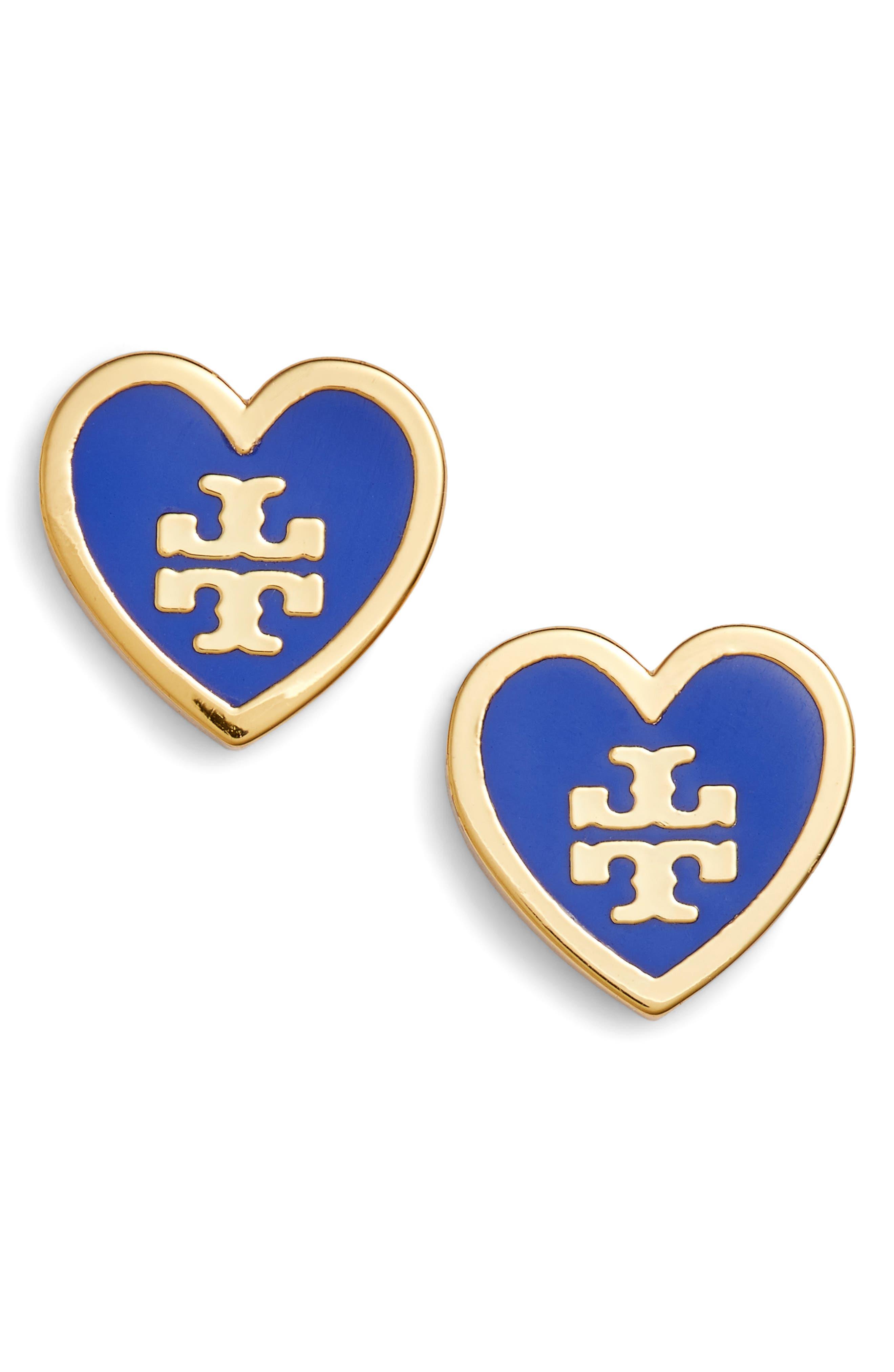 Logo Heart Stud Earrings,                             Main thumbnail 1, color,                             Blue Dahlia / Tory Gold