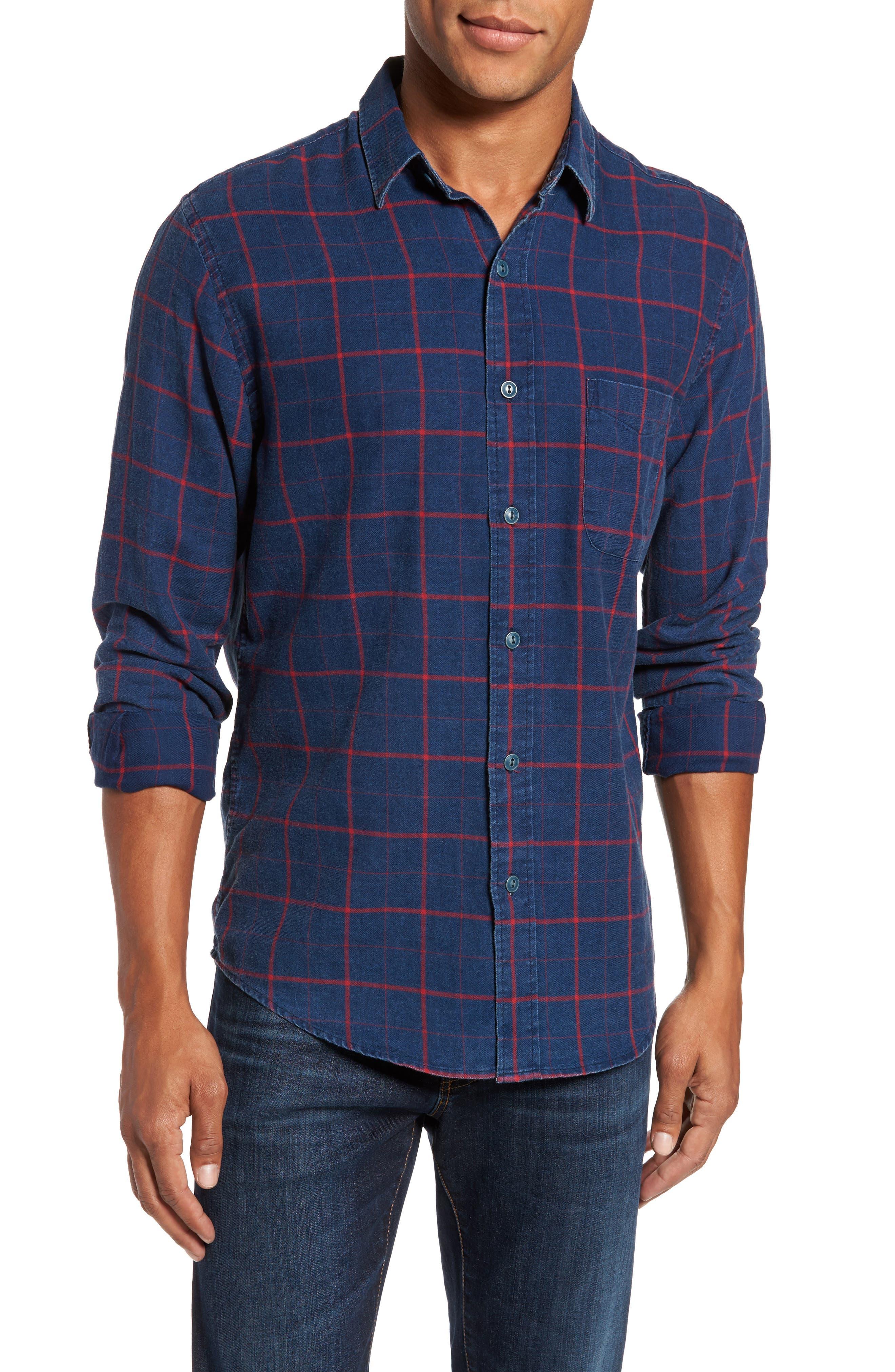 Check Sport Shirt,                         Main,                         color, Indigo Red Windowpane