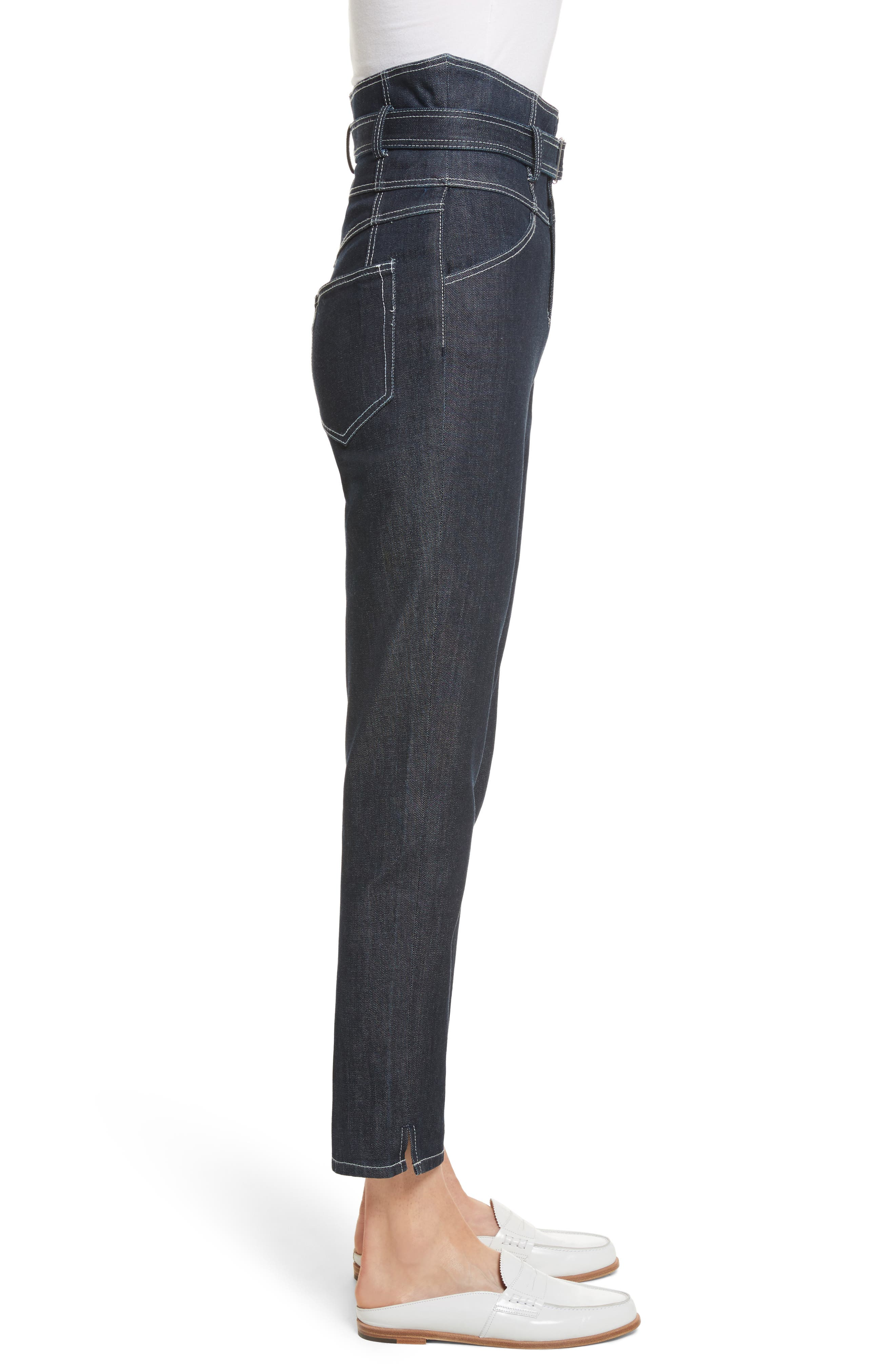 Belted Crop Jeans,                             Alternate thumbnail 4, color,                             Raw Rinse Wash
