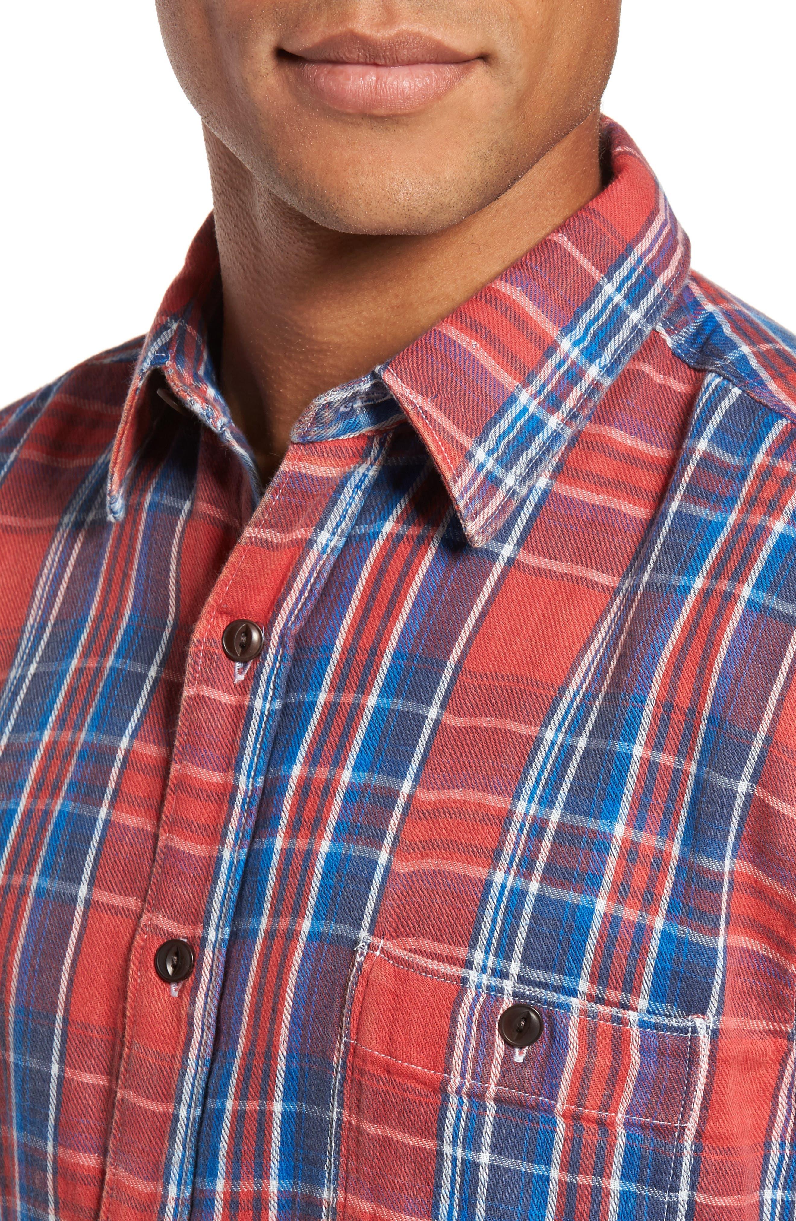 Plaid Sport Shirt,                             Alternate thumbnail 4, color,                             Red Farmer Plaid