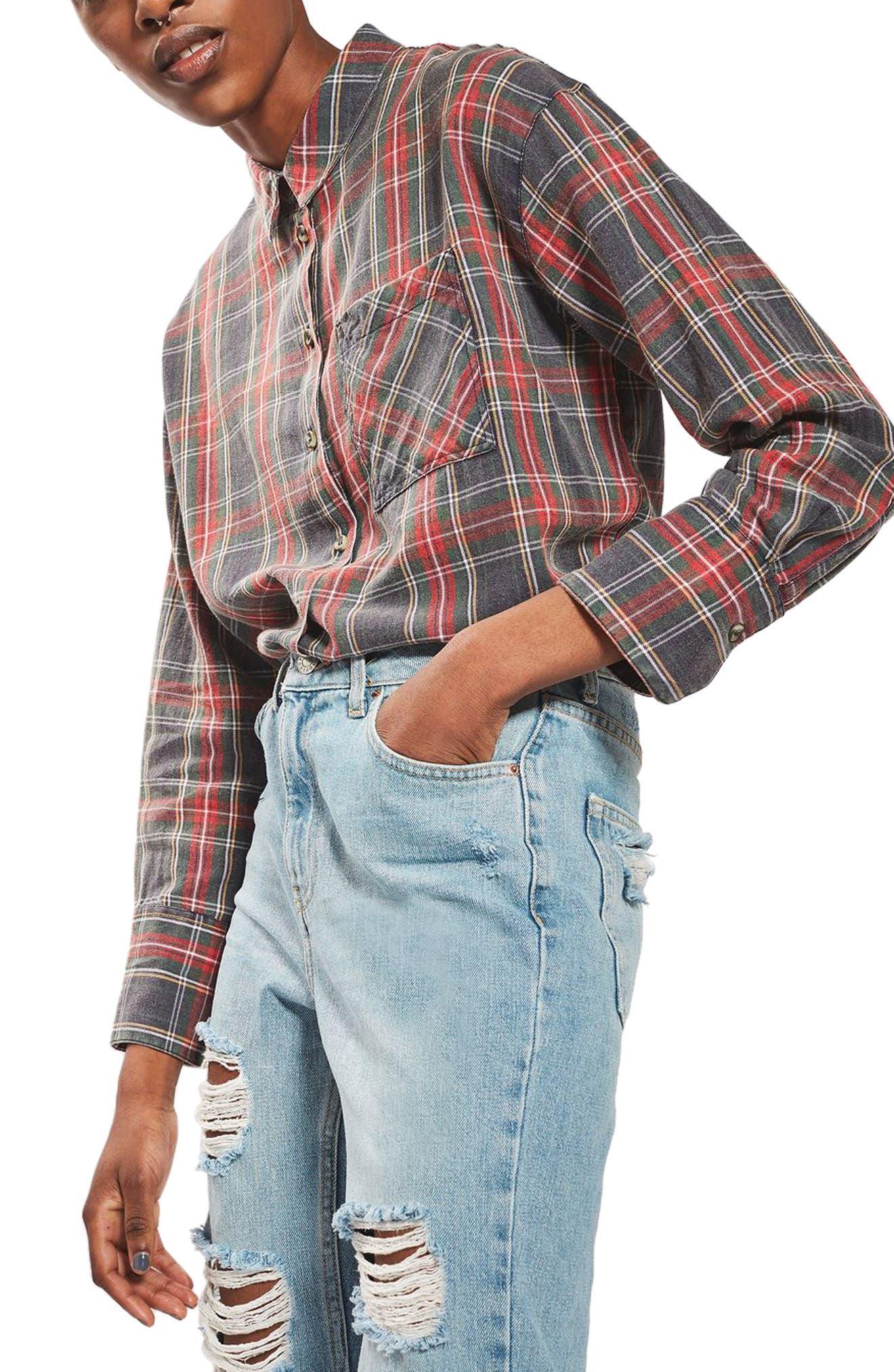 Washed Tartan Shirt,                         Main,                         color, Red Multi