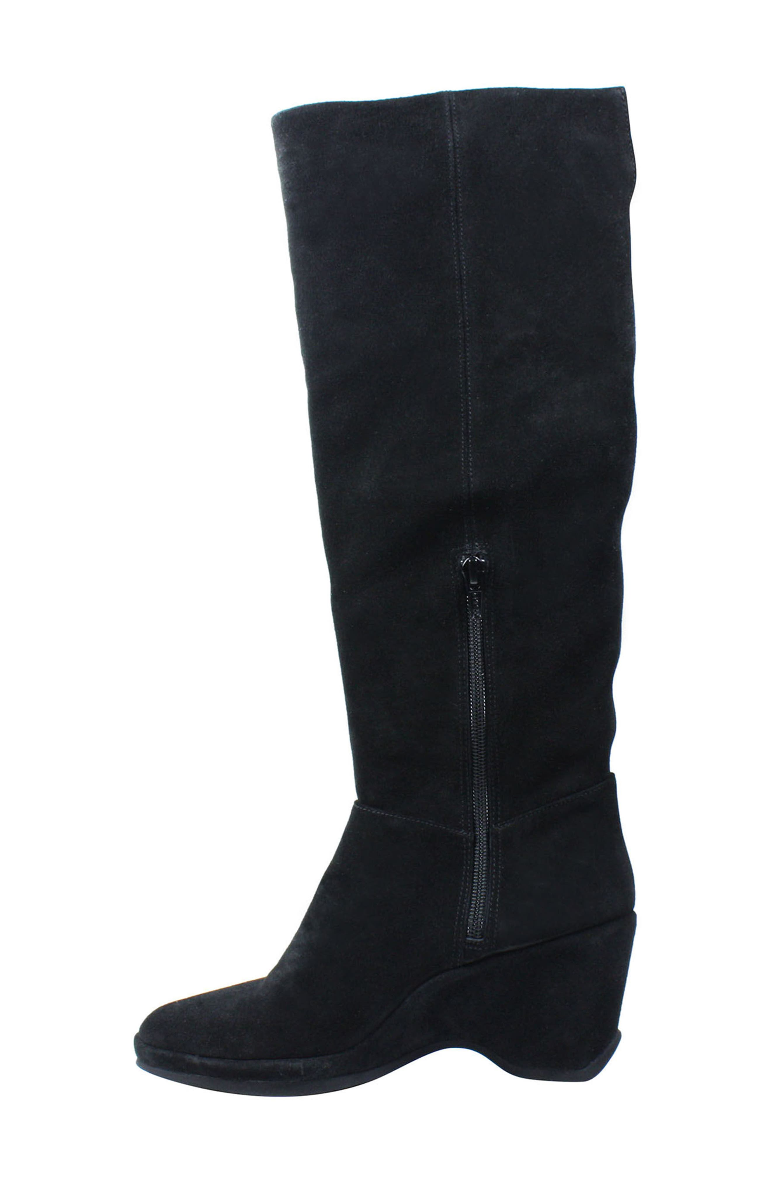 Odalys Tall Boot,                             Alternate thumbnail 2, color,                             Black Suede