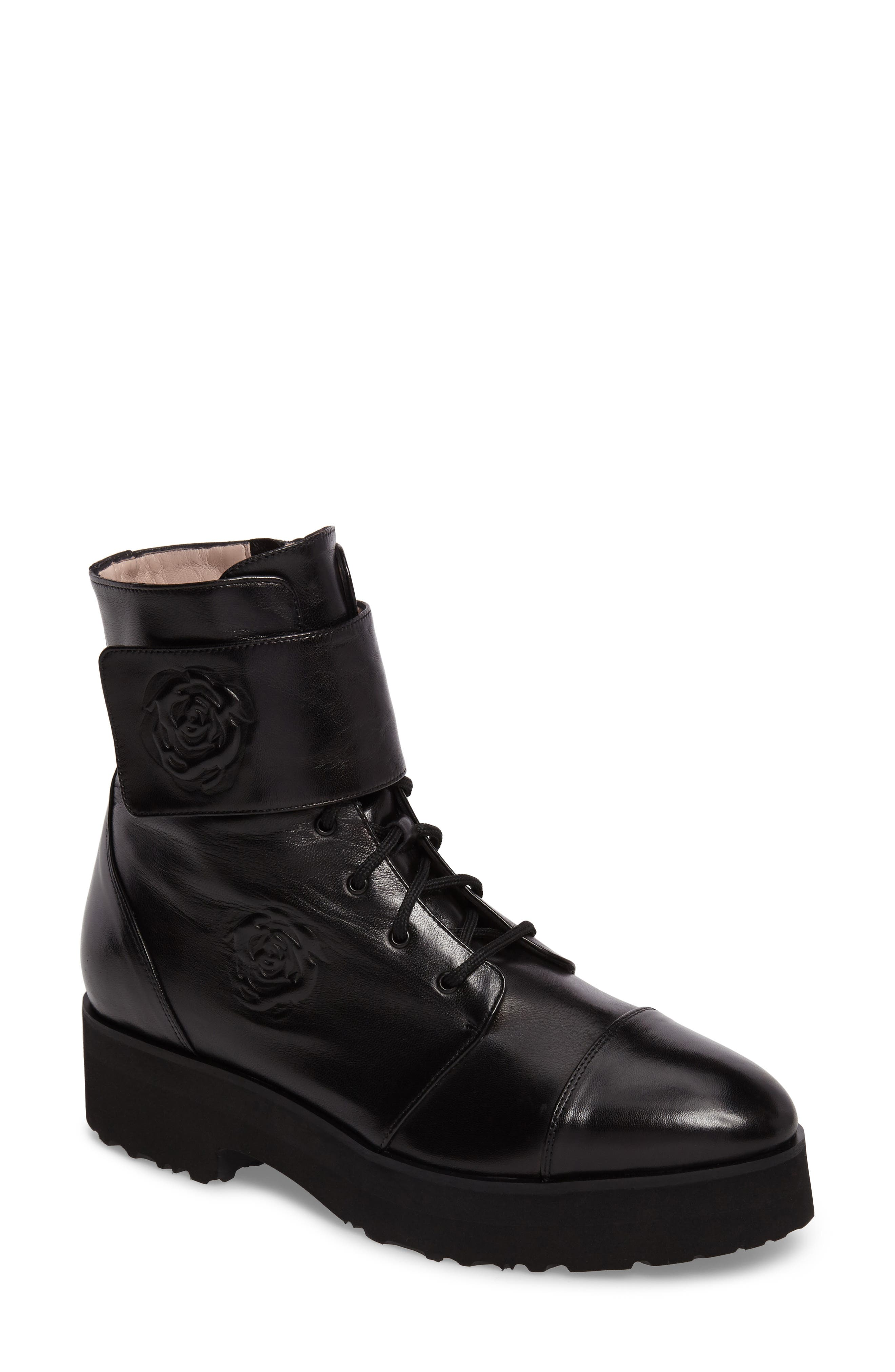 Valentina Rose Boot,                             Main thumbnail 1, color,                             Black Leather