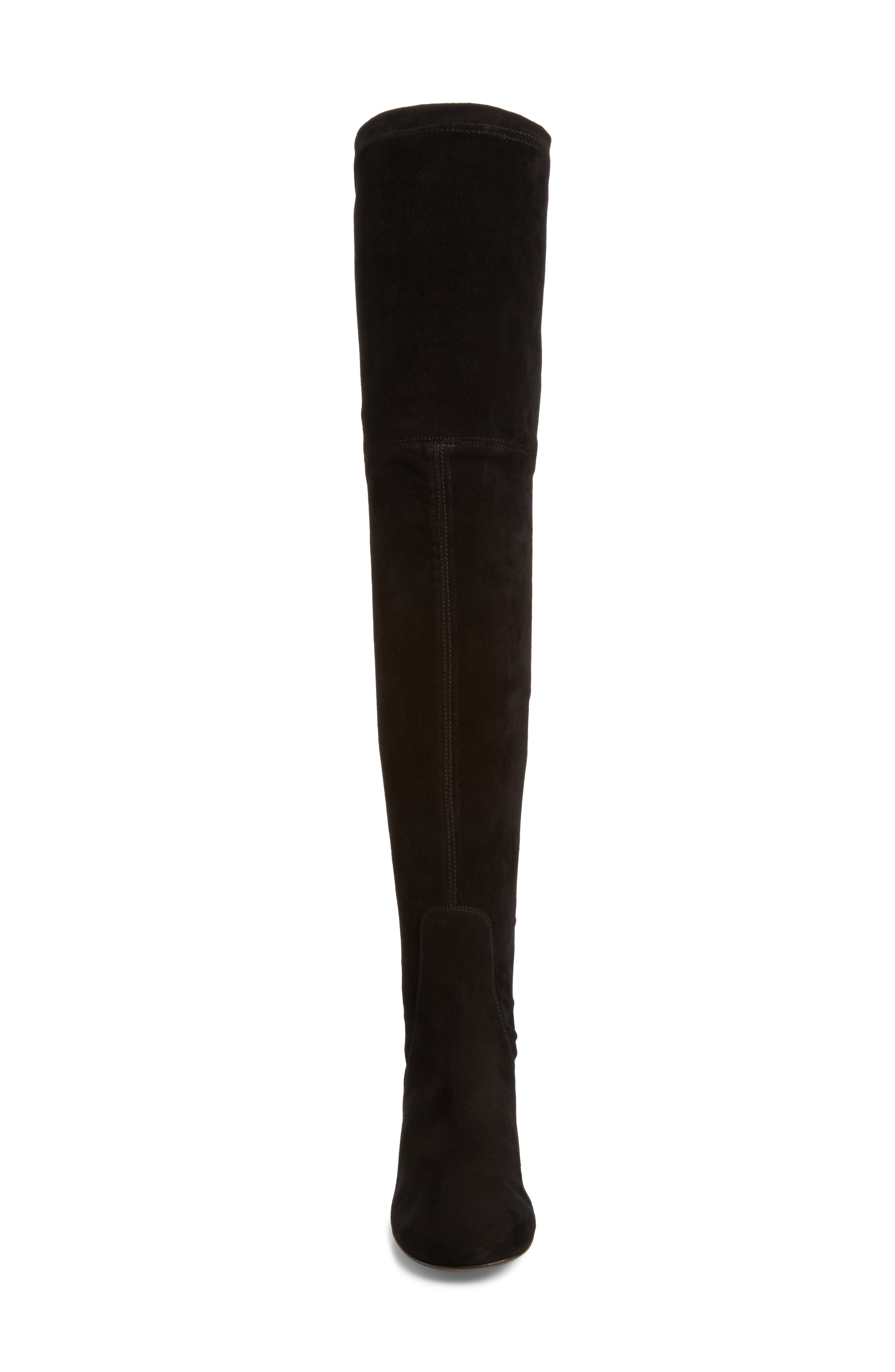 Over the Knee Boot,                             Alternate thumbnail 4, color,                             Black Suede