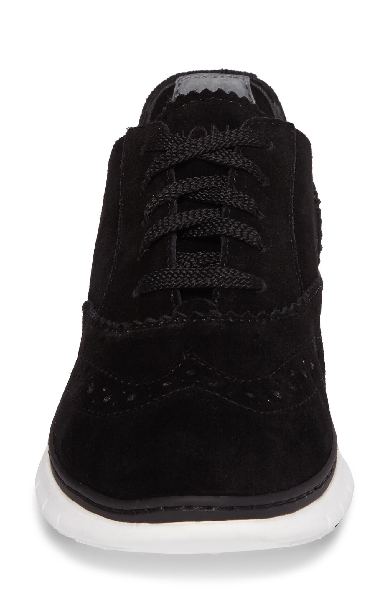 Kenley Sneaker,                             Alternate thumbnail 4, color,                             Black Suede