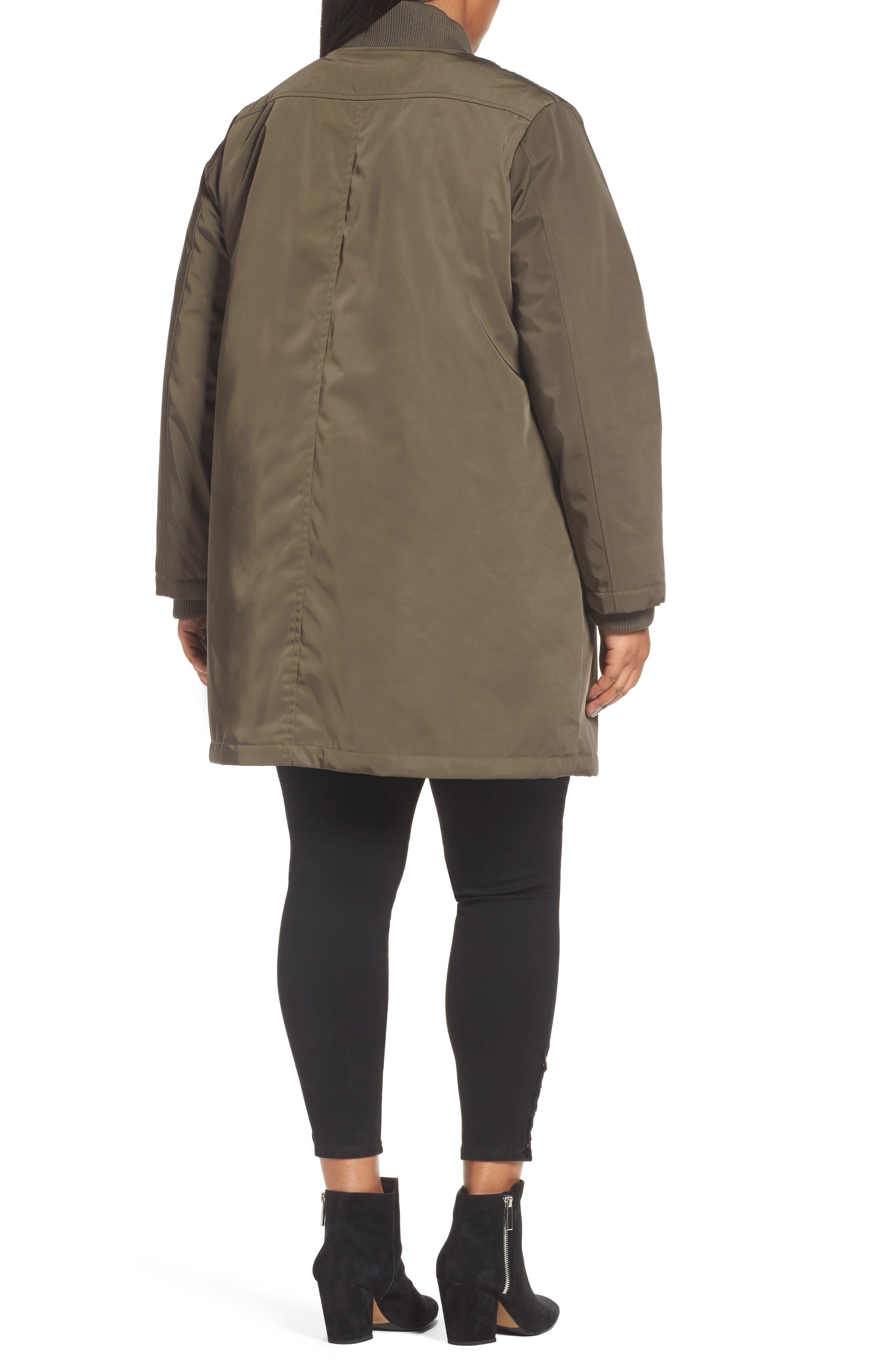 Alternate Image 2  - Calson® Long Bomber Jacket (Plus Size)