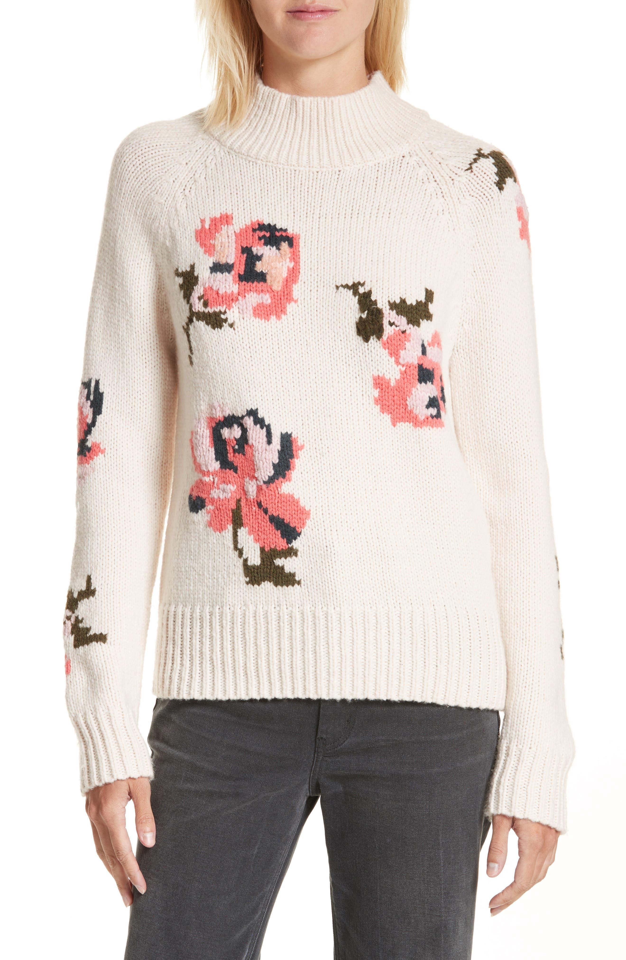 Rebecca Taylor Intarsia Floral Knit Sweater