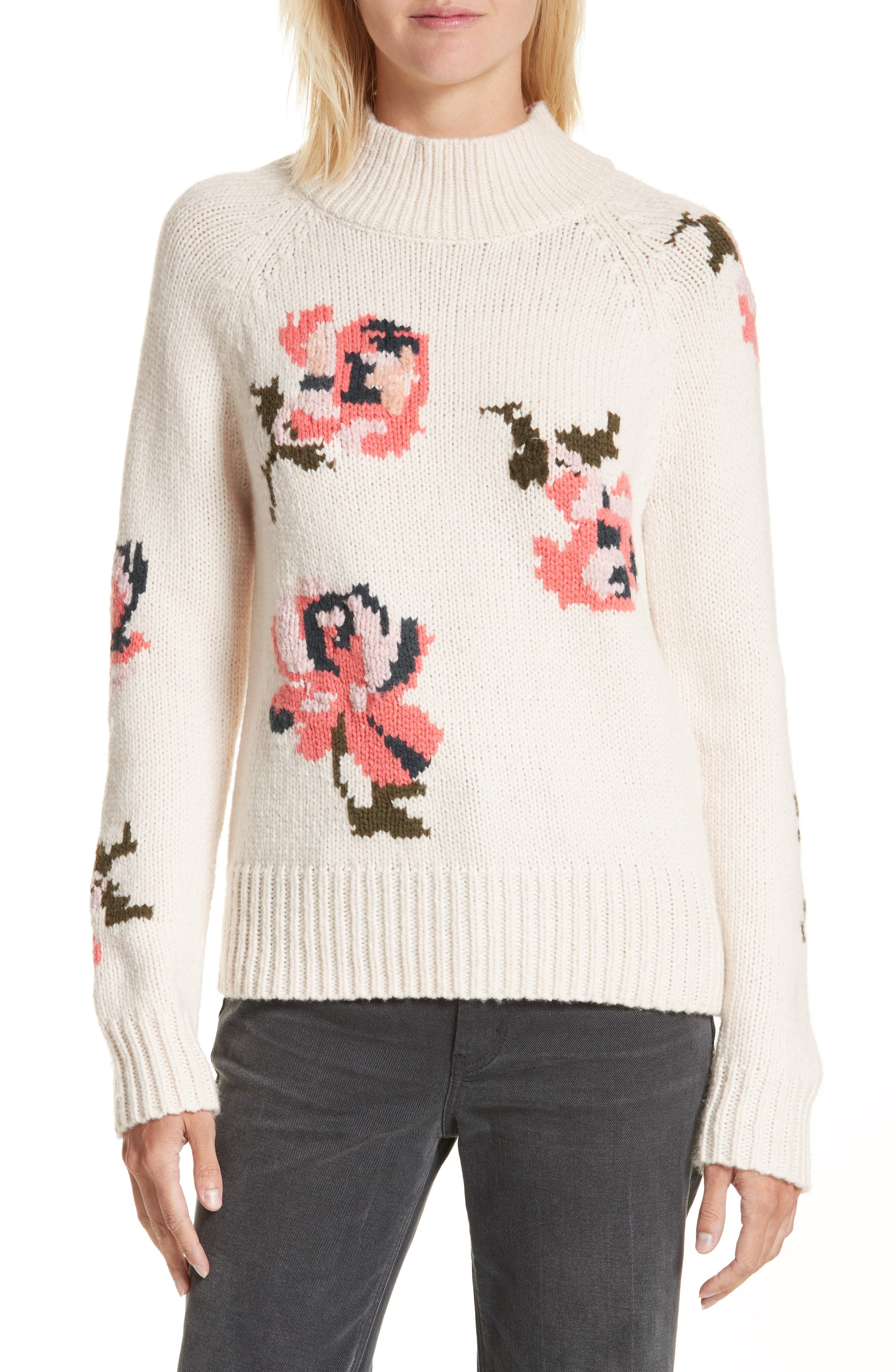 Rebecca Taylor Intarsia Floral Knit Sweater
