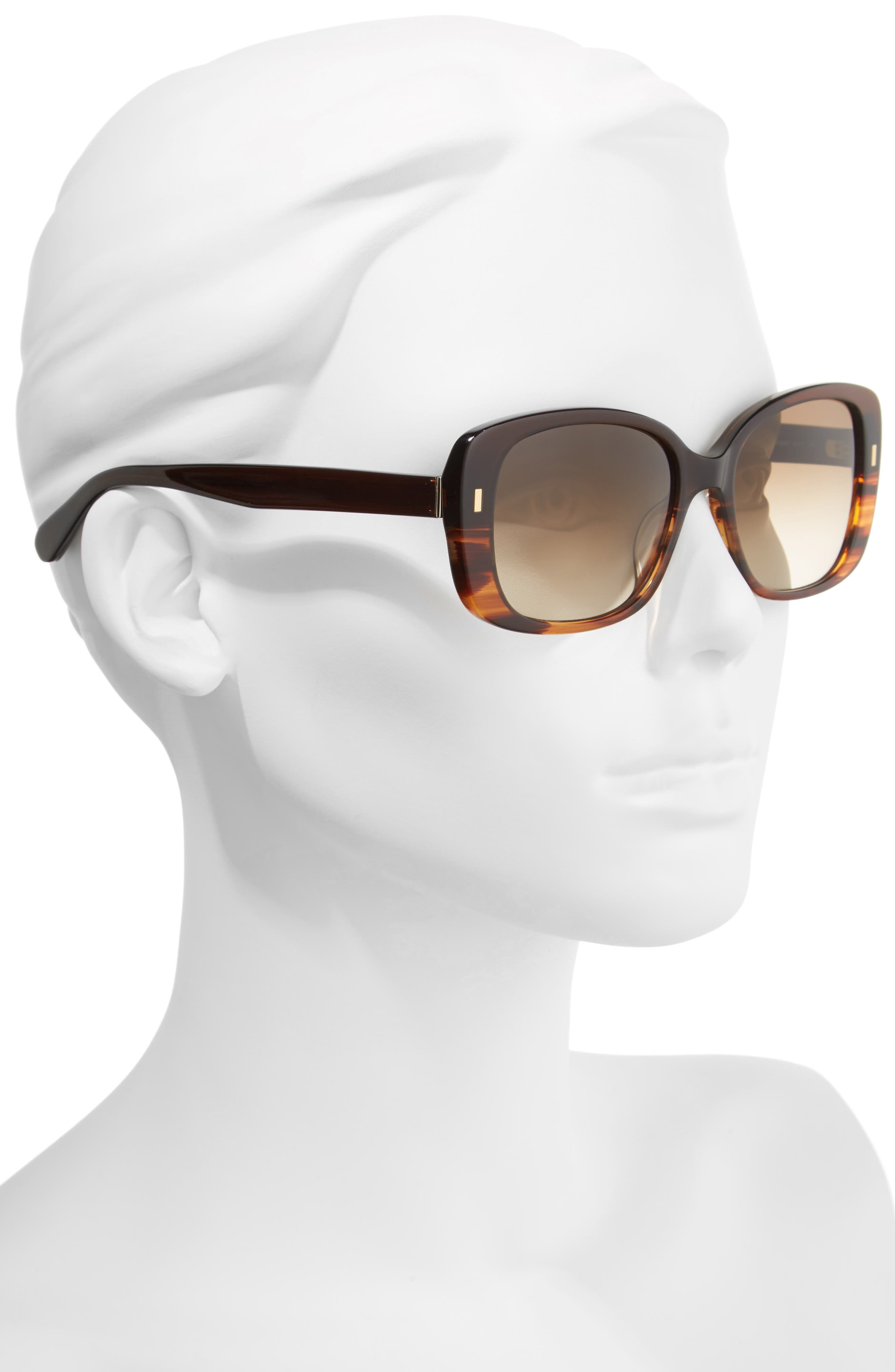 The Audrey 53mm Square Sunglasses,                             Alternate thumbnail 2, color,                             Brown Havana