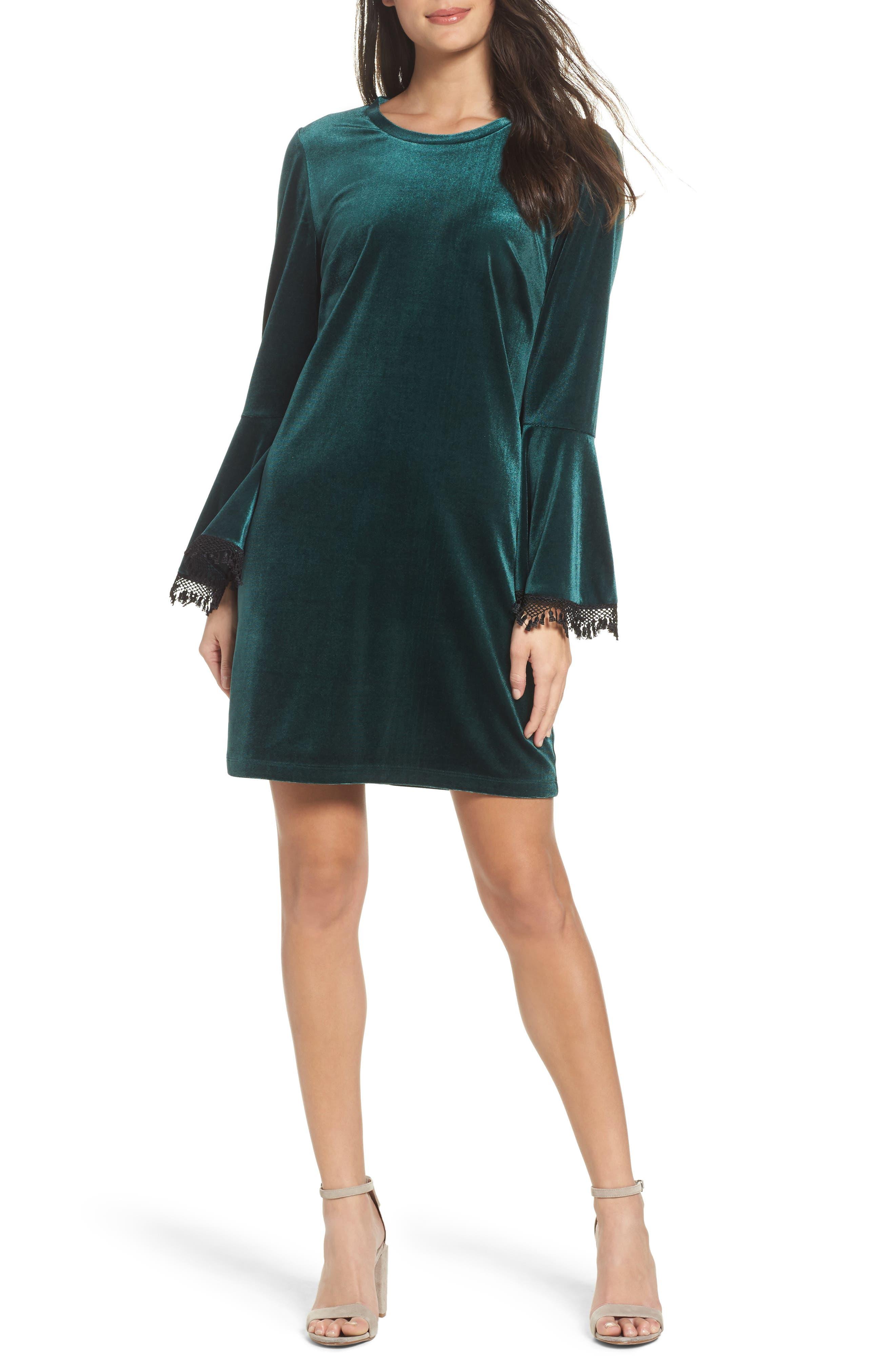 Hallie Bell Sleeve Velvet Dress,                             Main thumbnail 1, color,                             Bottle Green