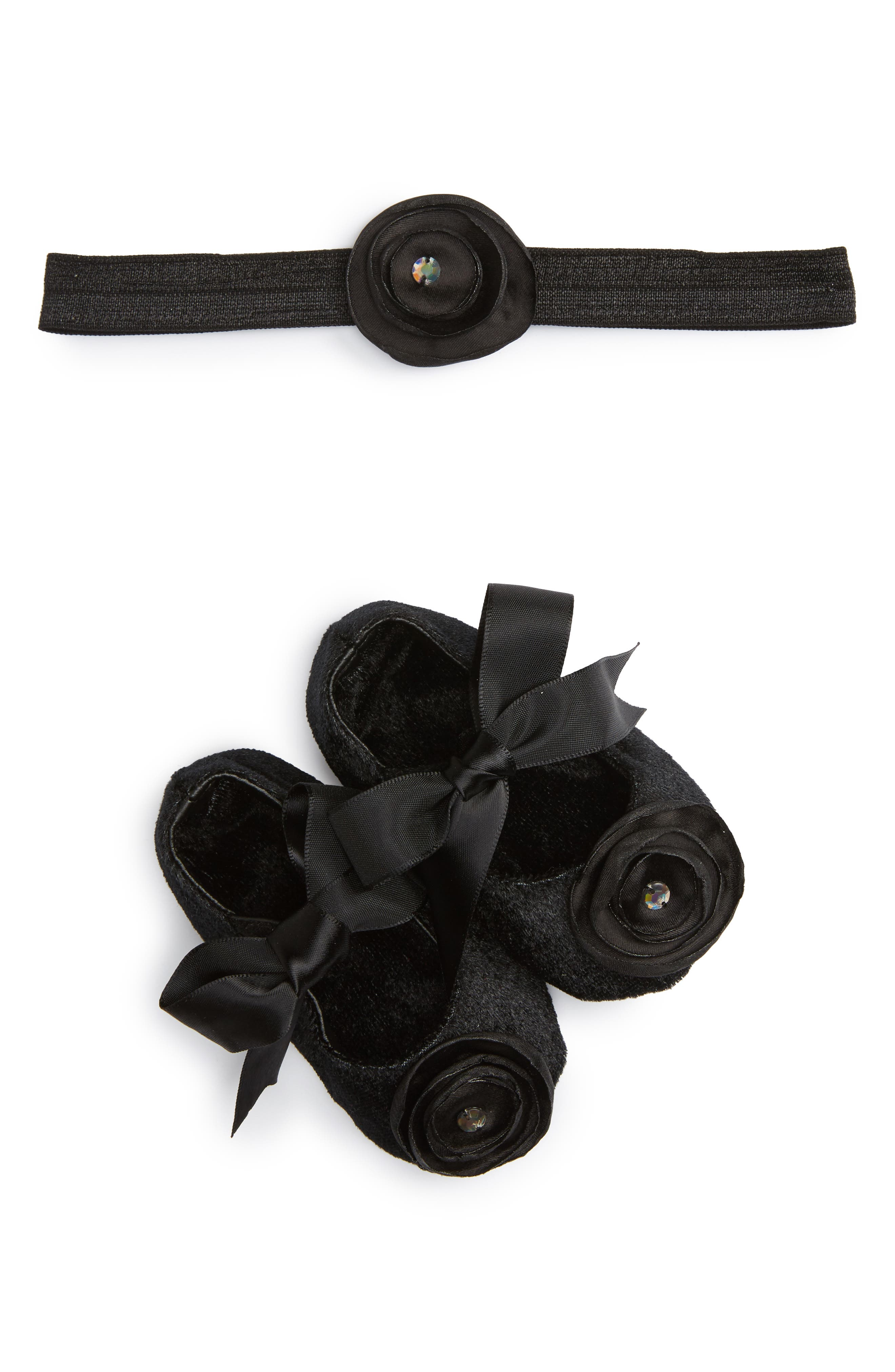 Alternate Image 1 Selected - PLH Bows & Laces Crib Shoes & Headband Set (Baby Girls)