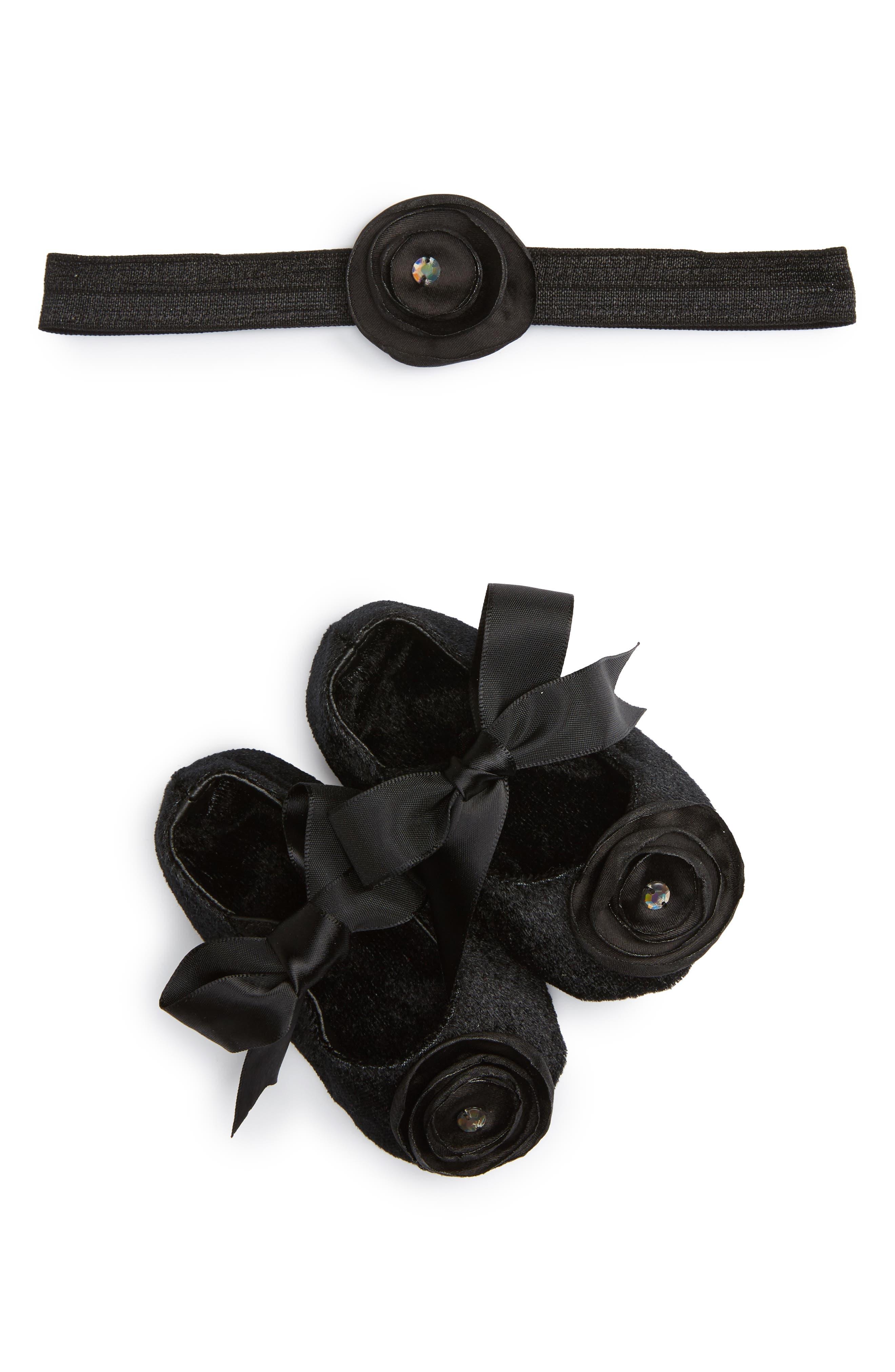 Crib Shoes & Headband Set,                         Main,                         color, Black