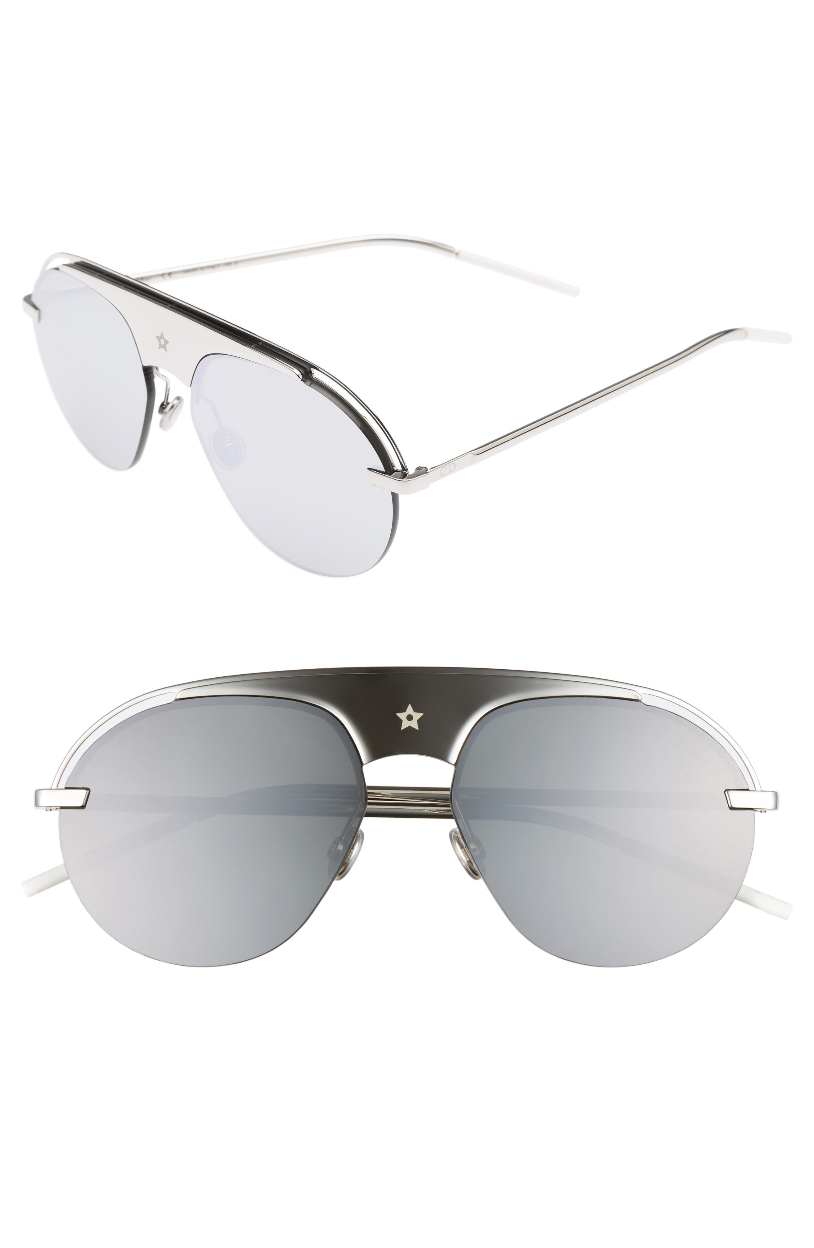Evolution 2 60mm Aviator Sunglasses,                         Main,                         color, Palladium
