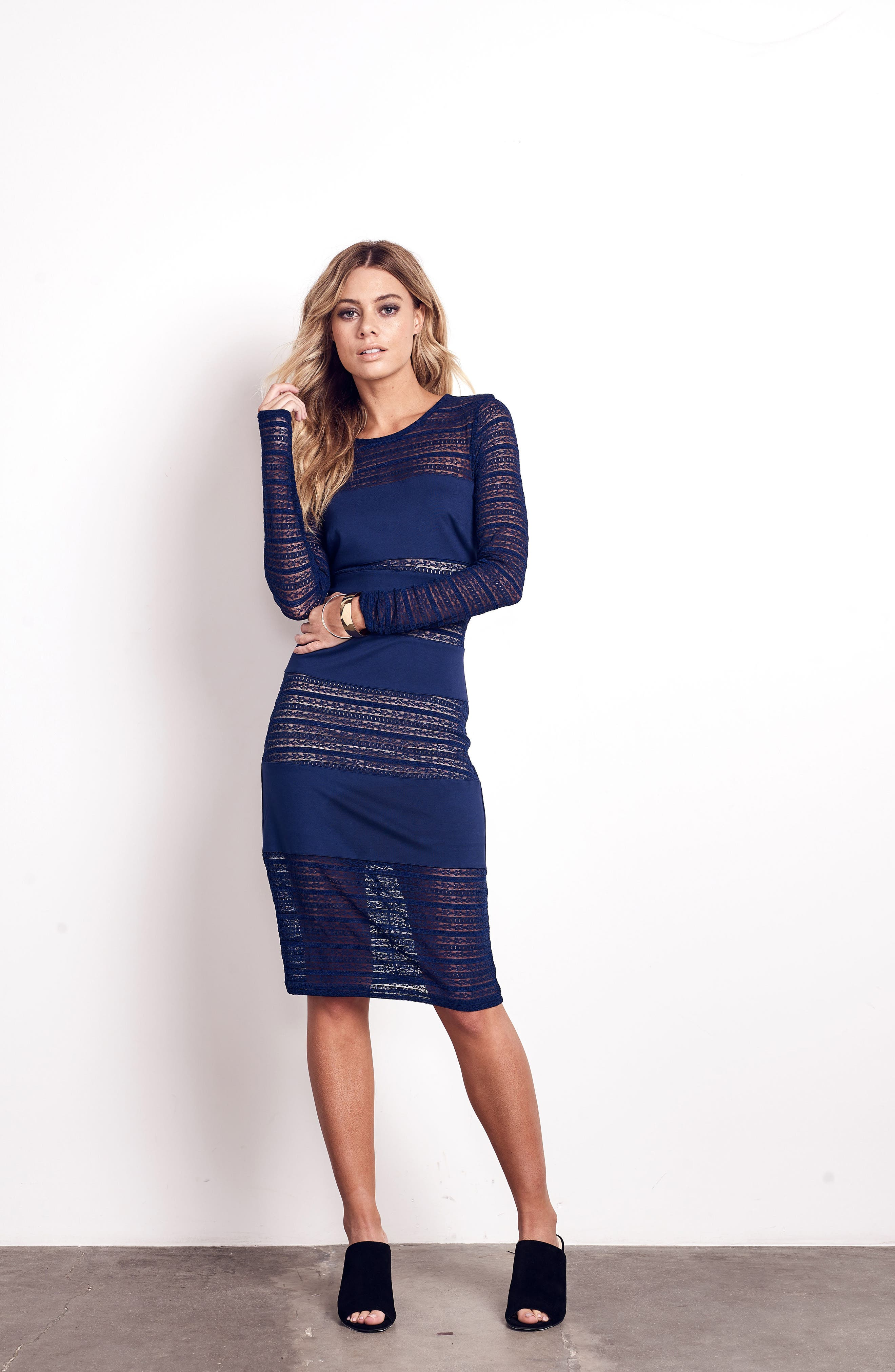 Lovestruck Stripe Body-Con Dress,                             Alternate thumbnail 2, color,                             Navy