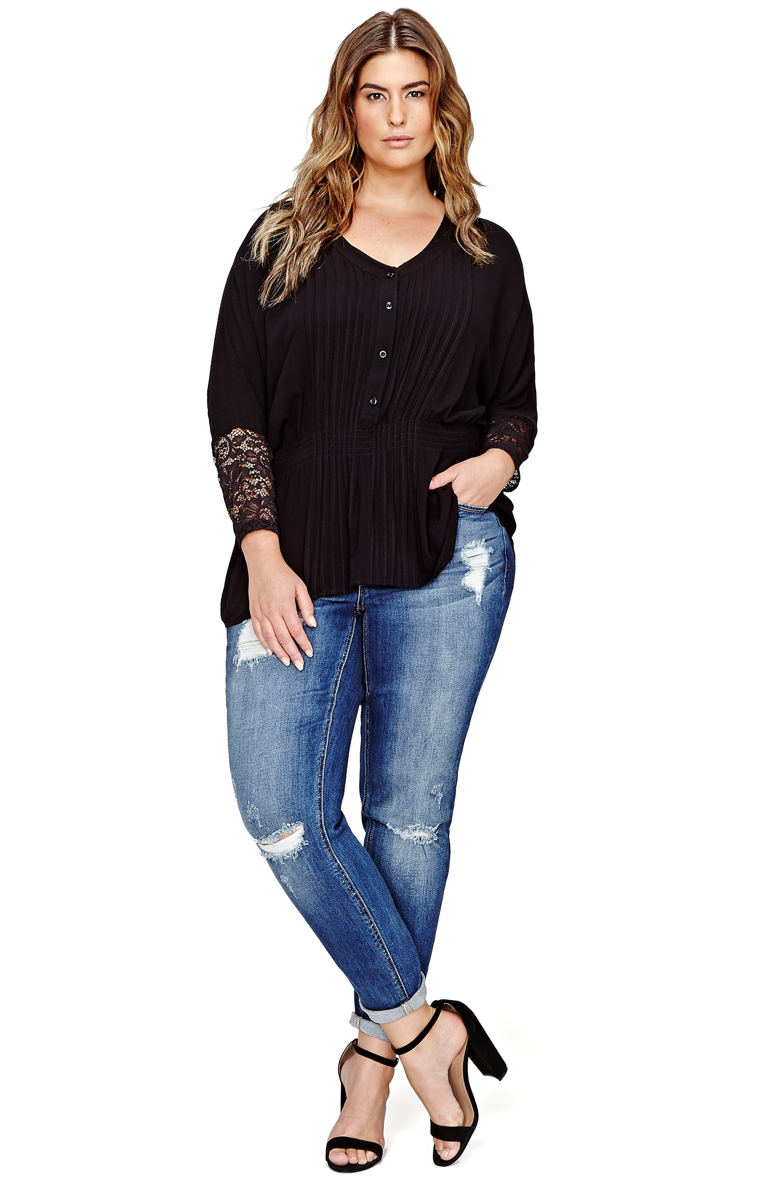 Alternate Image 2  - ADDITION ELLE LOVE AND LEGEND Ripped Skinny Jeans (Plus Size)