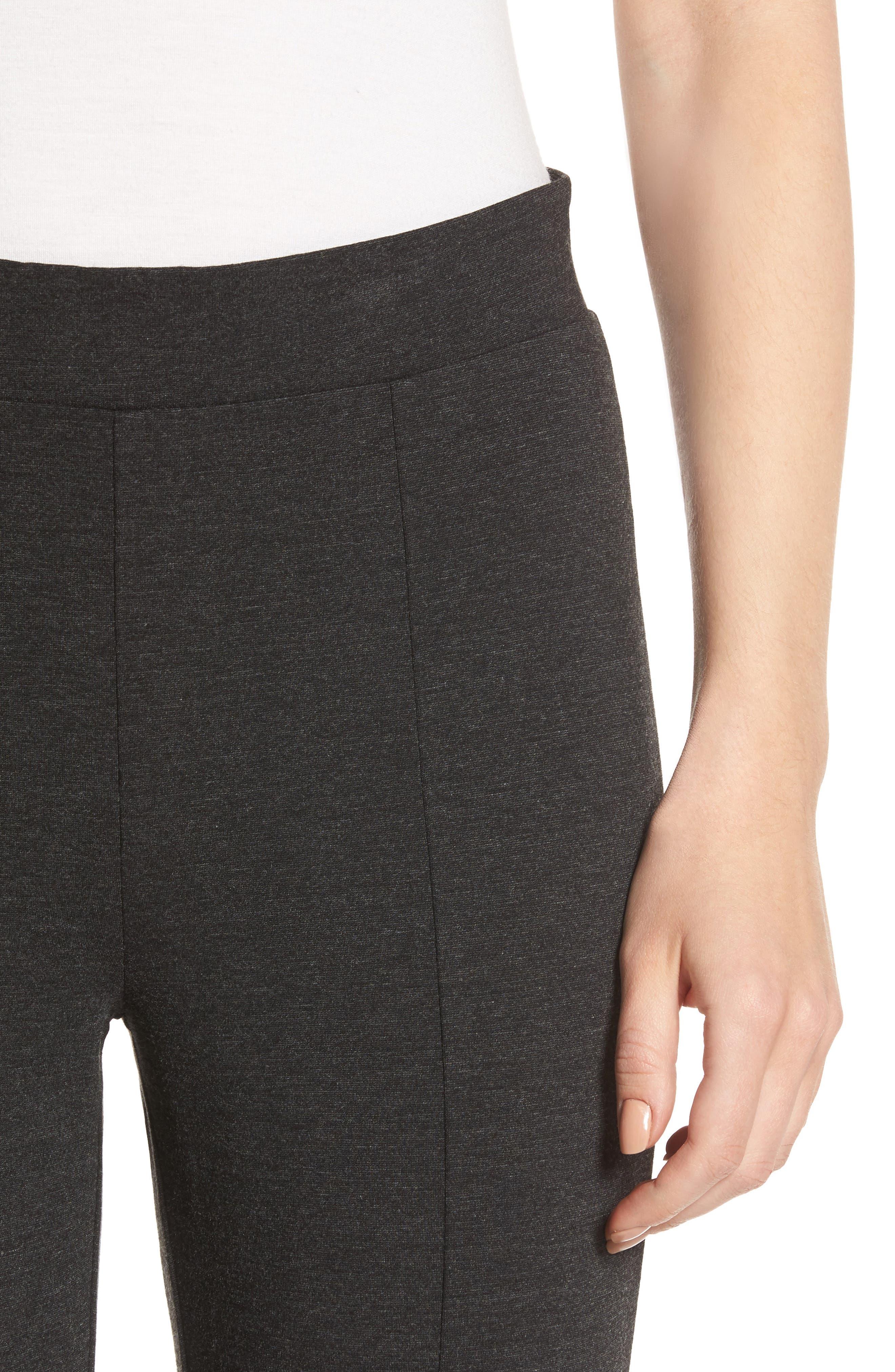 Seamed Ponte Knit Leggings,                             Alternate thumbnail 4, color,                             Charcoal Grey