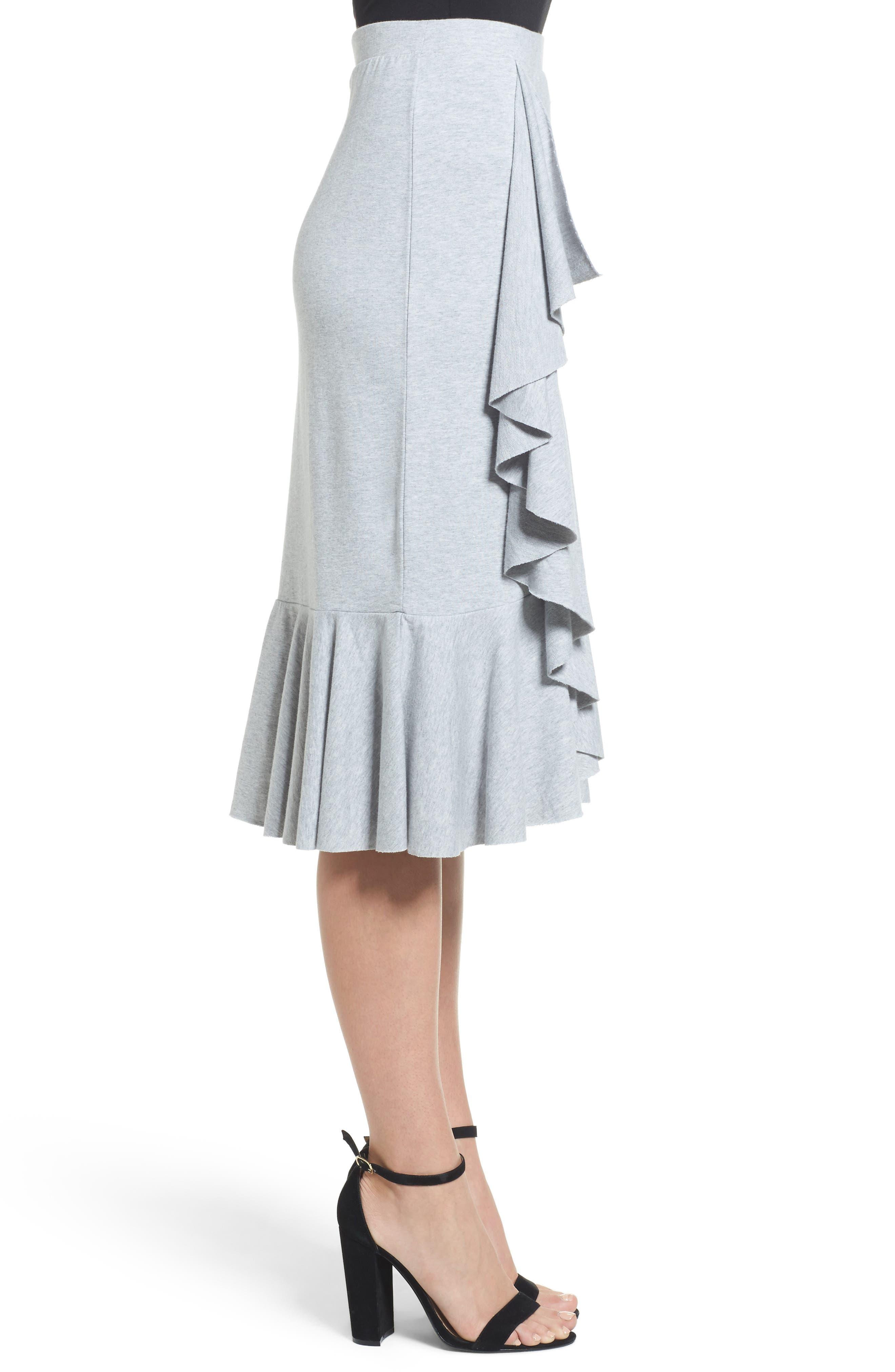 Ruffled Knit Skirt,                             Alternate thumbnail 3, color,                             Heather Grey