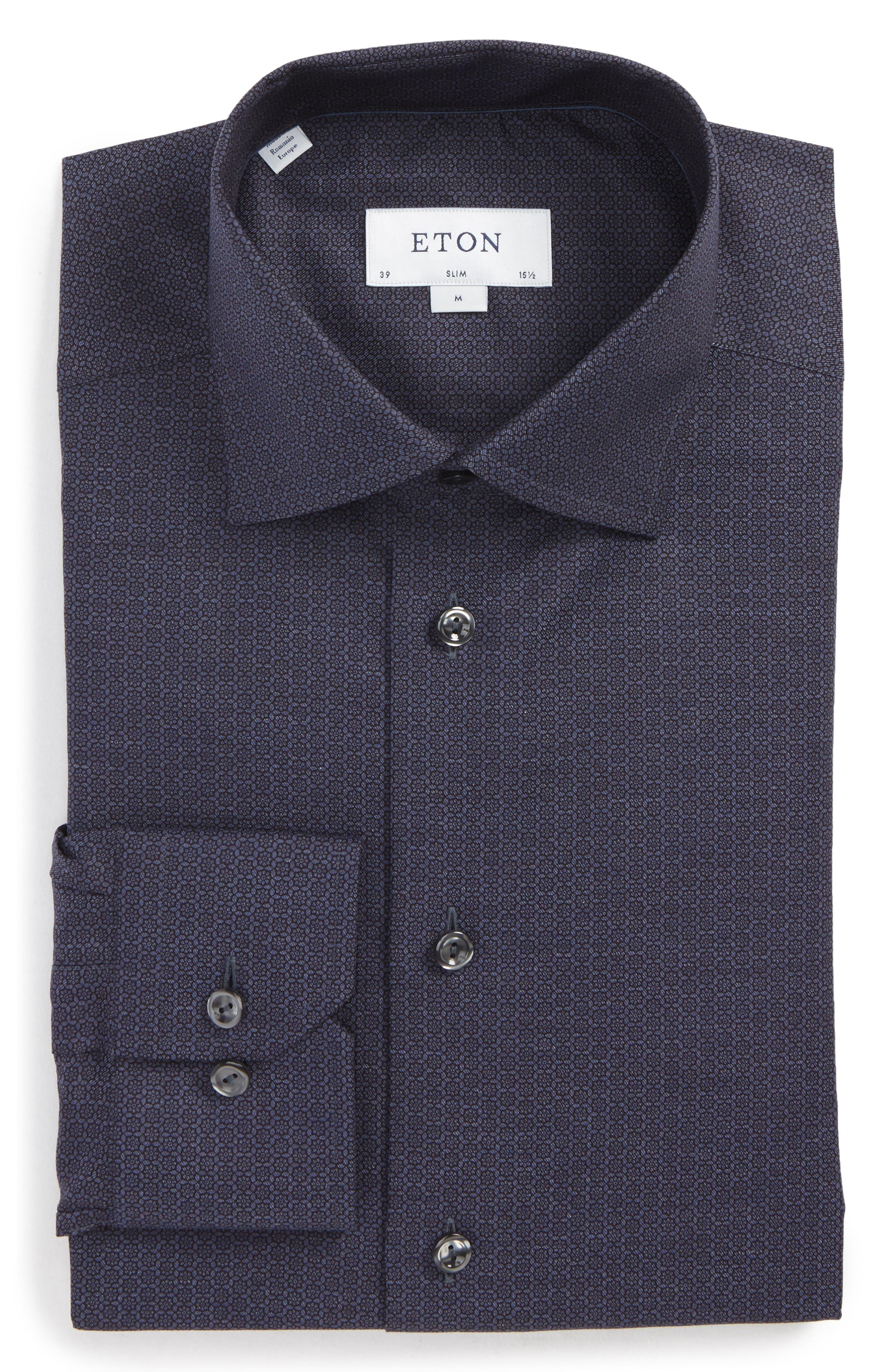 Slim Fit Medallion Print Dress Shirt,                         Main,                         color, Navy