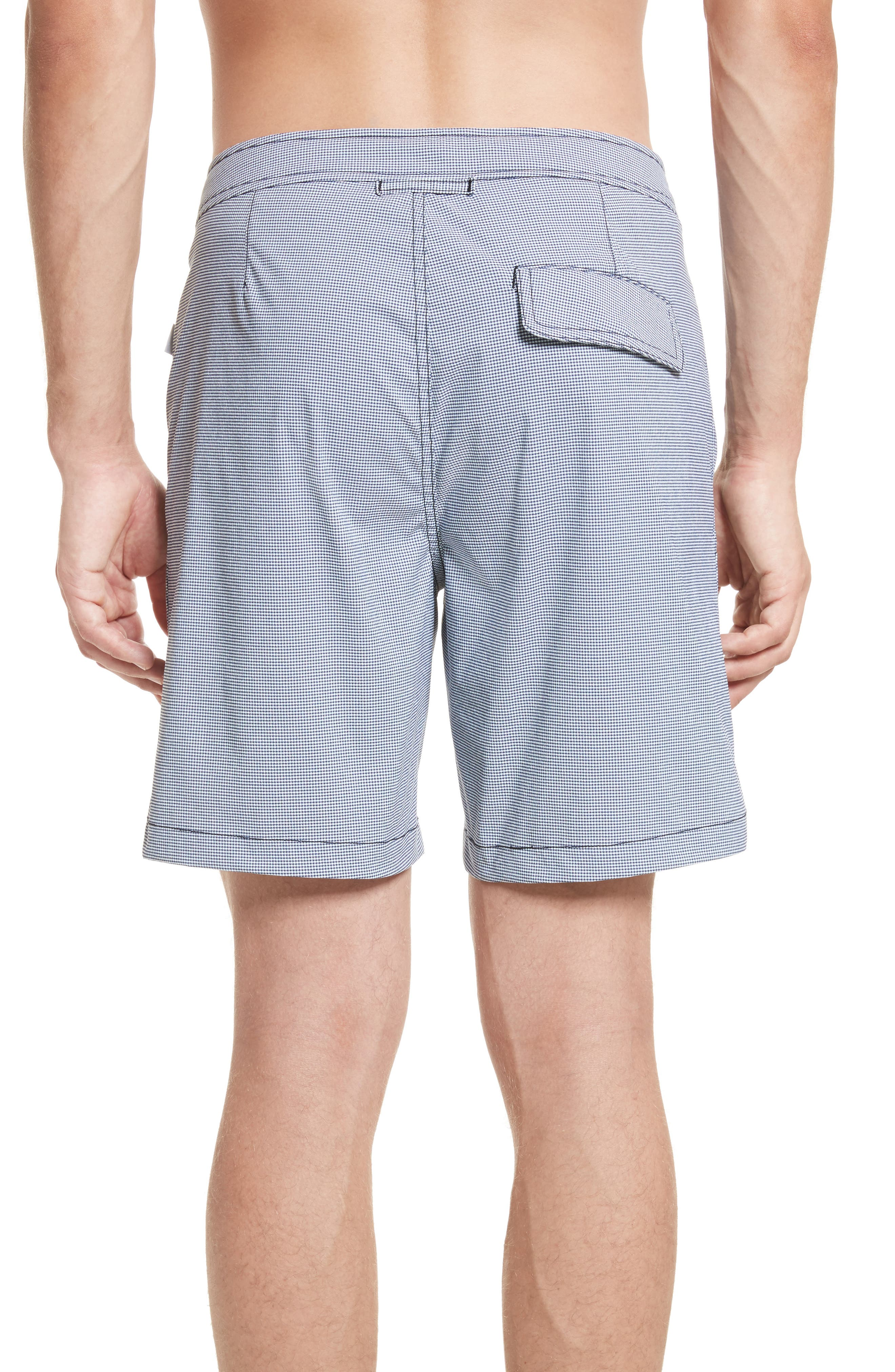 Calder Gingham Board Shorts,                             Alternate thumbnail 2, color,                             Deep Navy/White