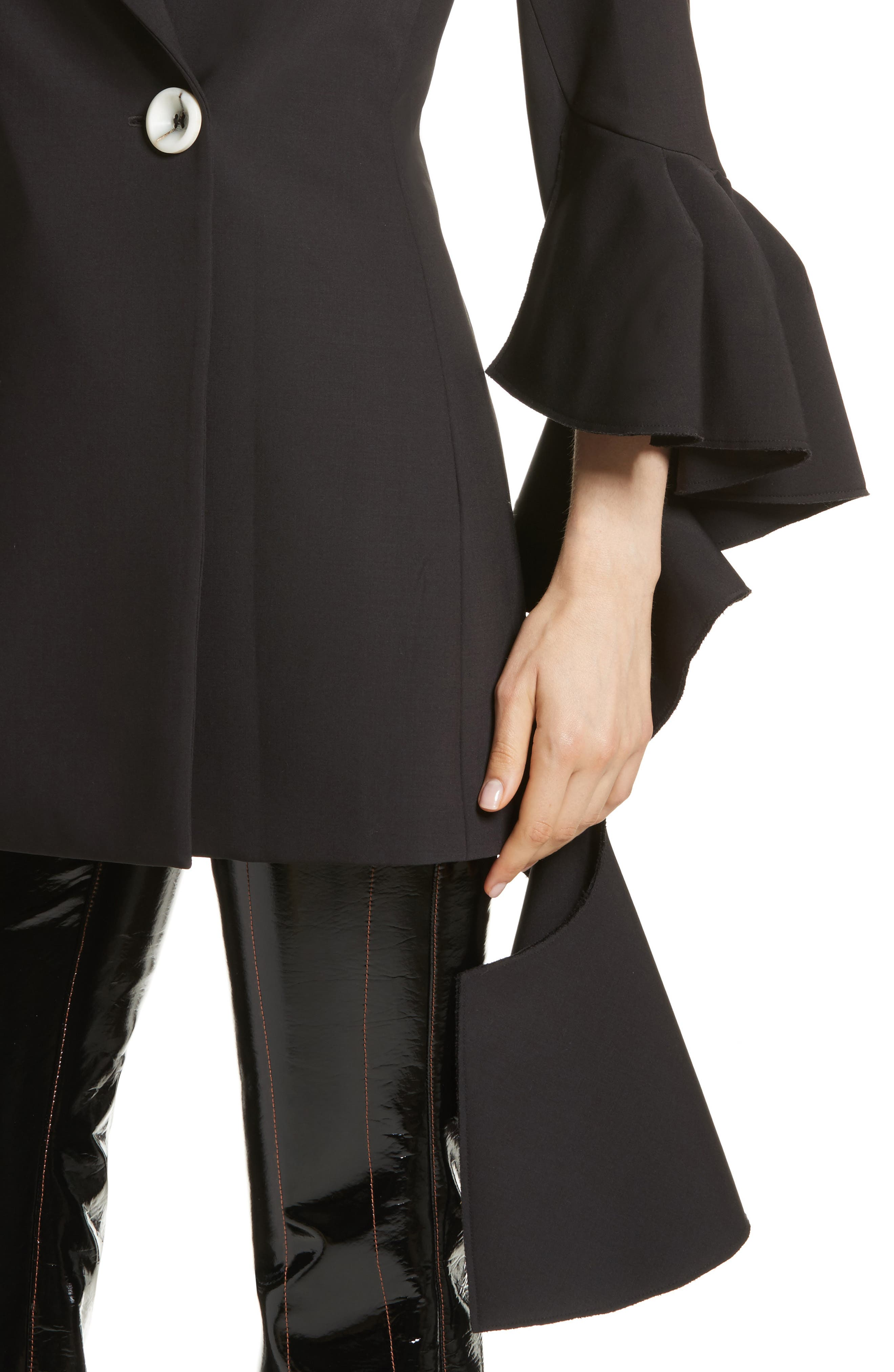 Forsaken Frill Sleeve Jacket,                             Alternate thumbnail 4, color,                             Black