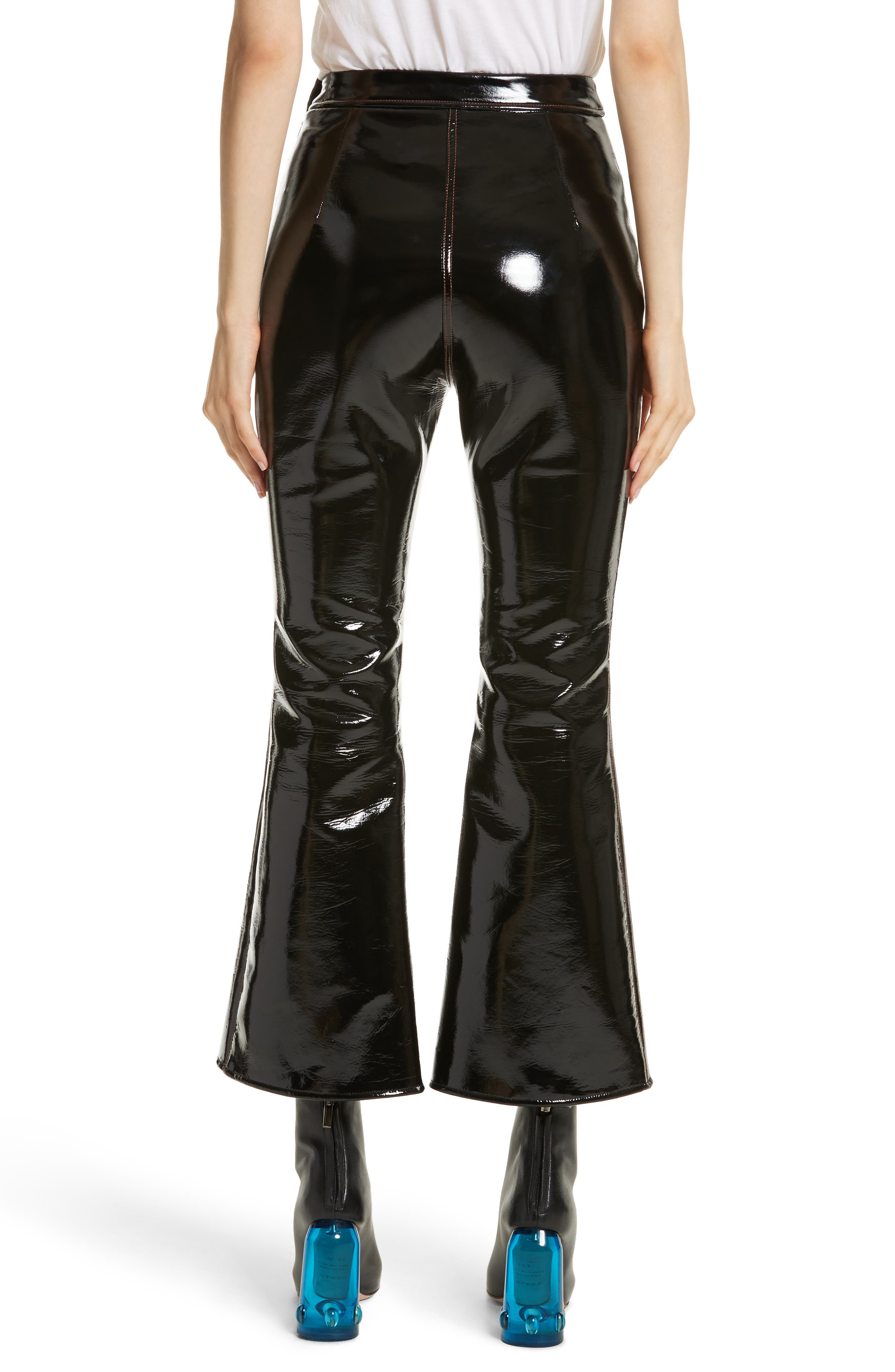 Outlaw Topstitched Crop Flare PVC Pants,                             Alternate thumbnail 2, color,                             Black