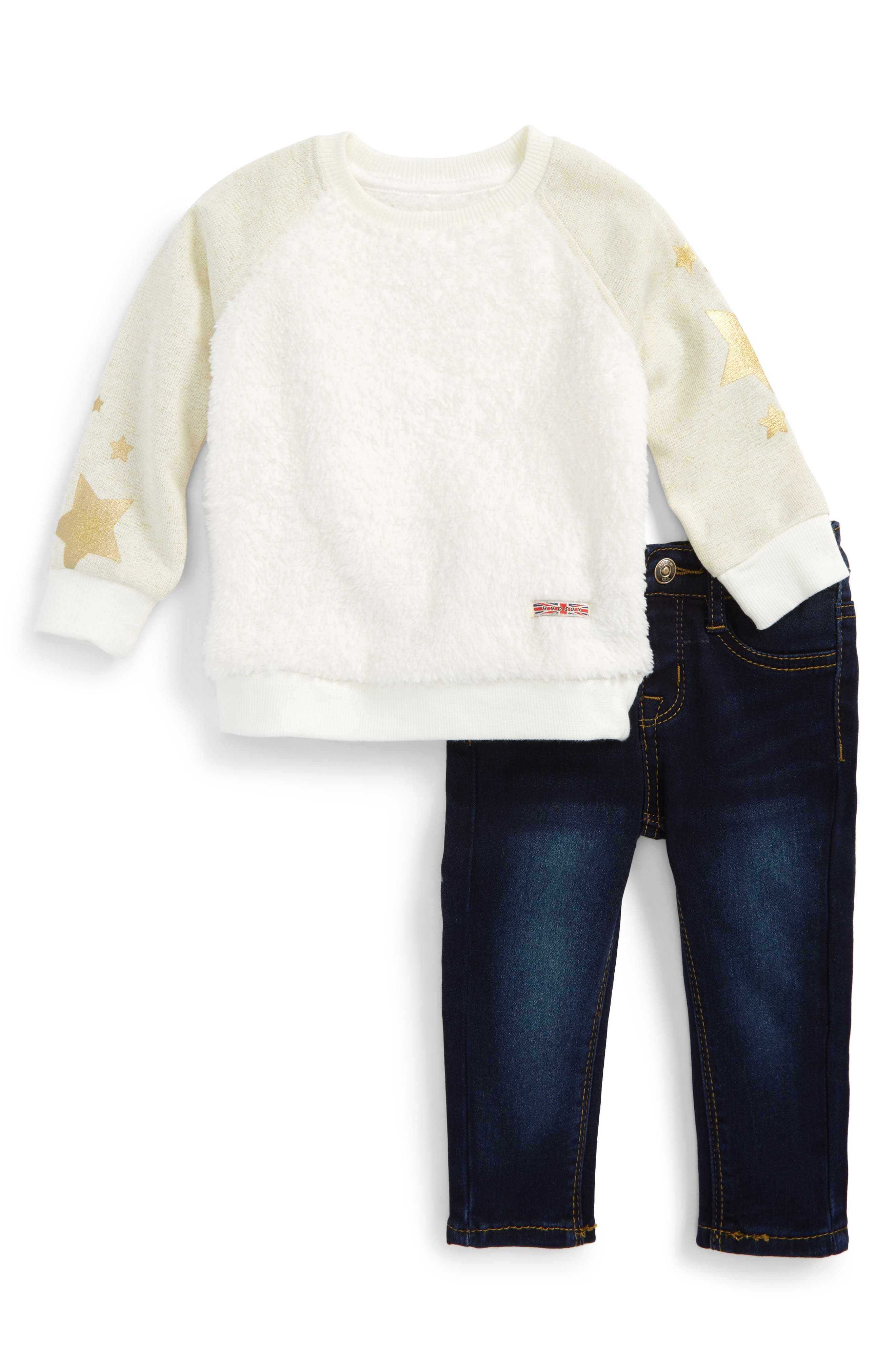 Alternate Image 1 Selected - Hudson Kids Fleece Sweatshirt & Jeans Set (Baby Girls)