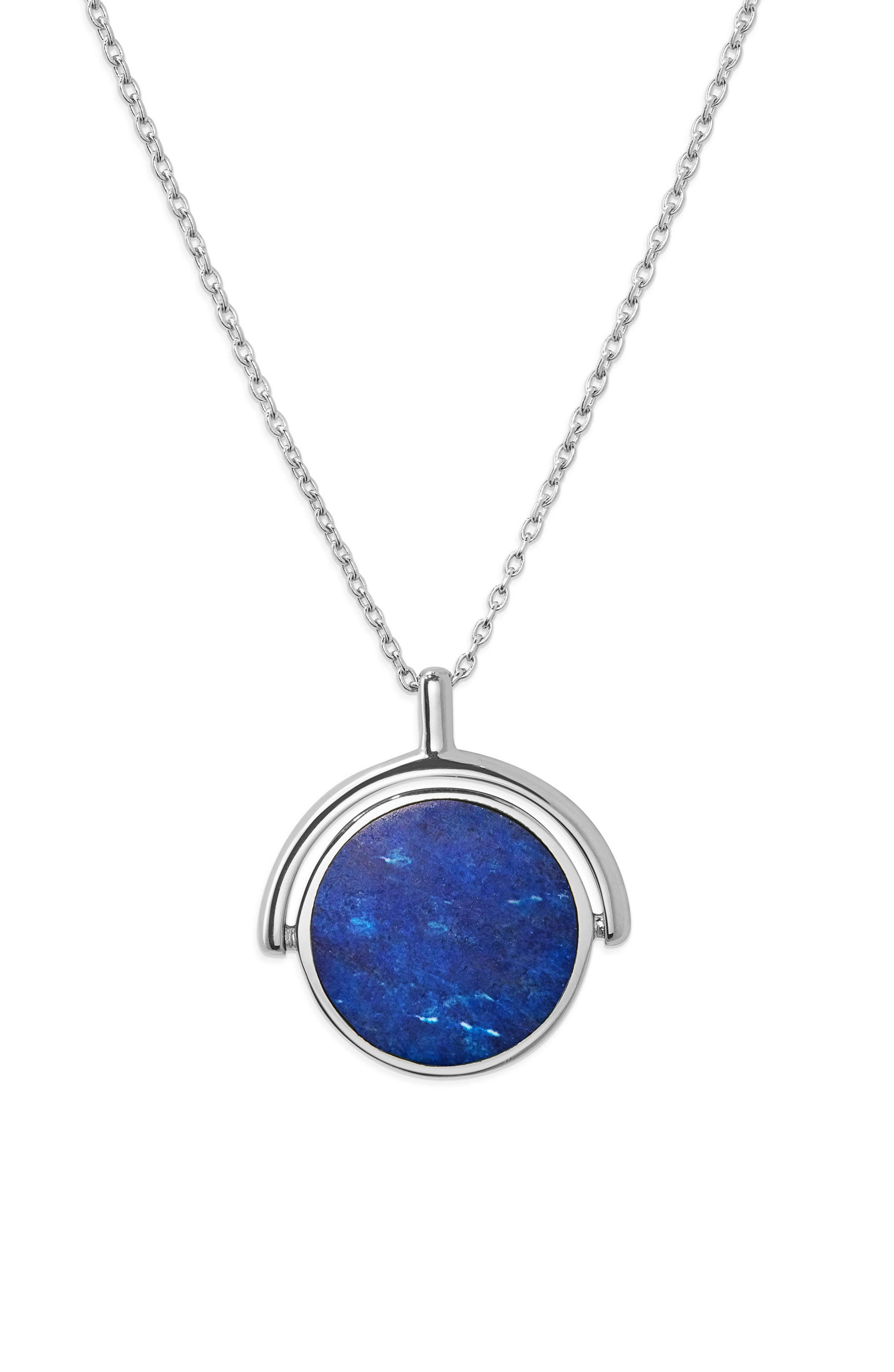Rotating Signet Pendant Necklace,                         Main,                         color, Sterling Silver/ Lapis