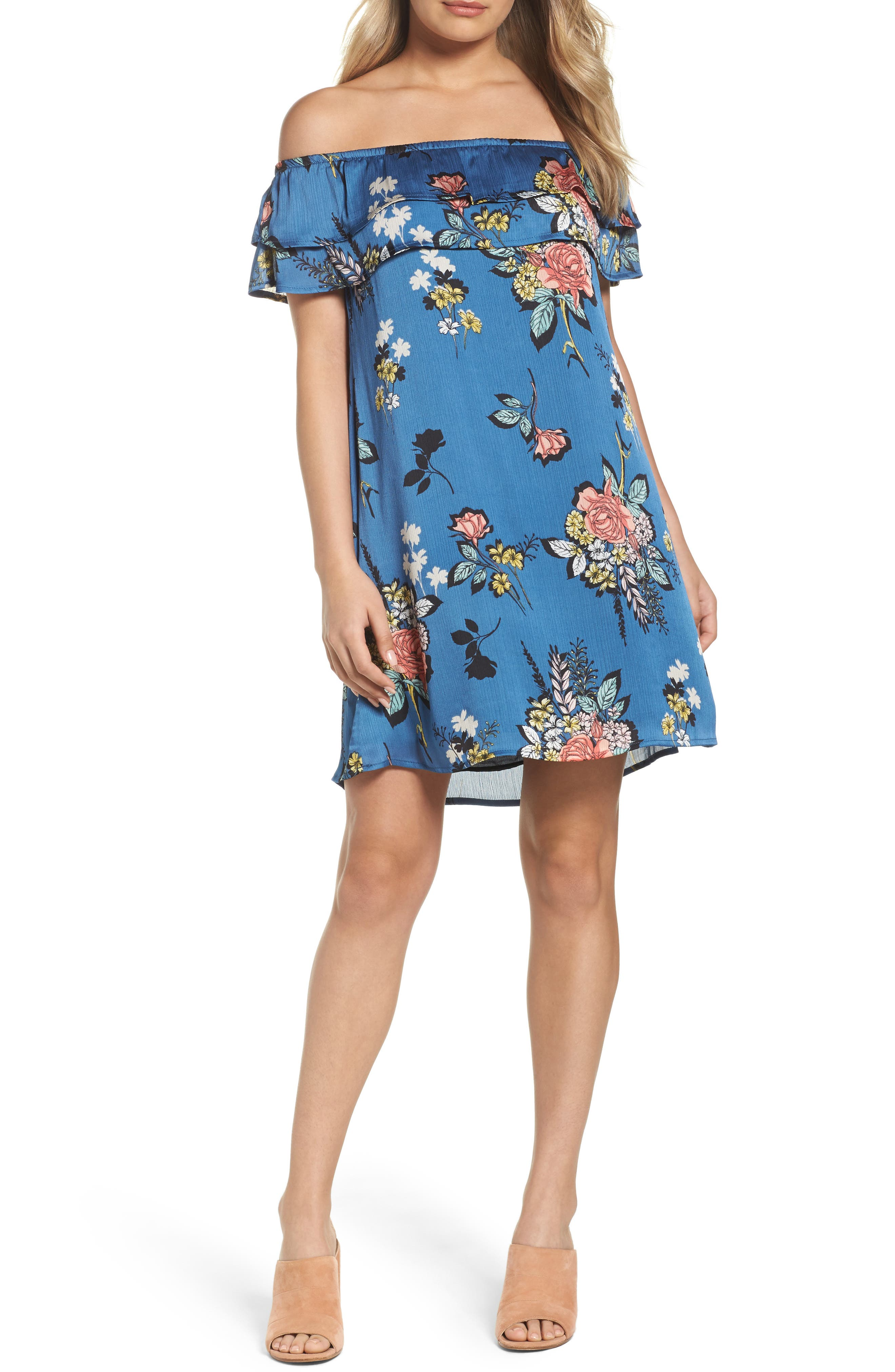 Off the Shoulder Ruffle Dress,                             Main thumbnail 1, color,                             Charcoal Flower Blue