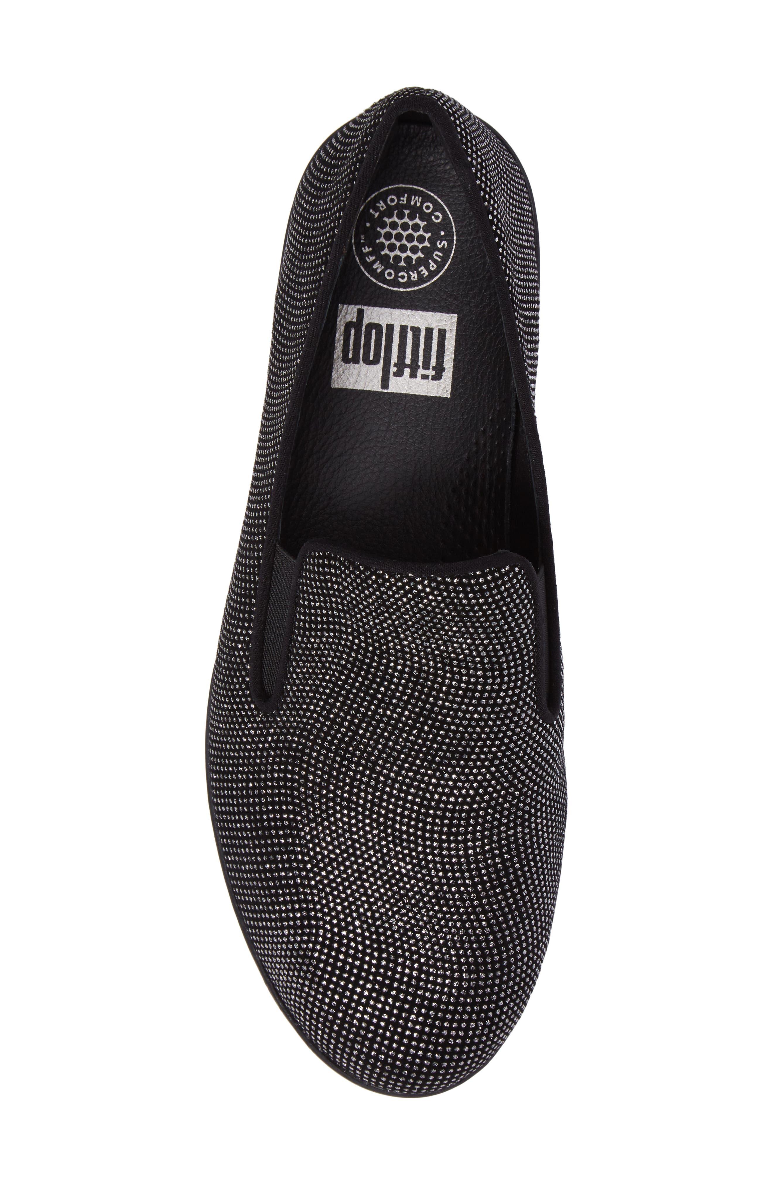 Superskate Glitter Dot Slip-On Sneaker,                             Alternate thumbnail 5, color,                             Black Glimmer Suede