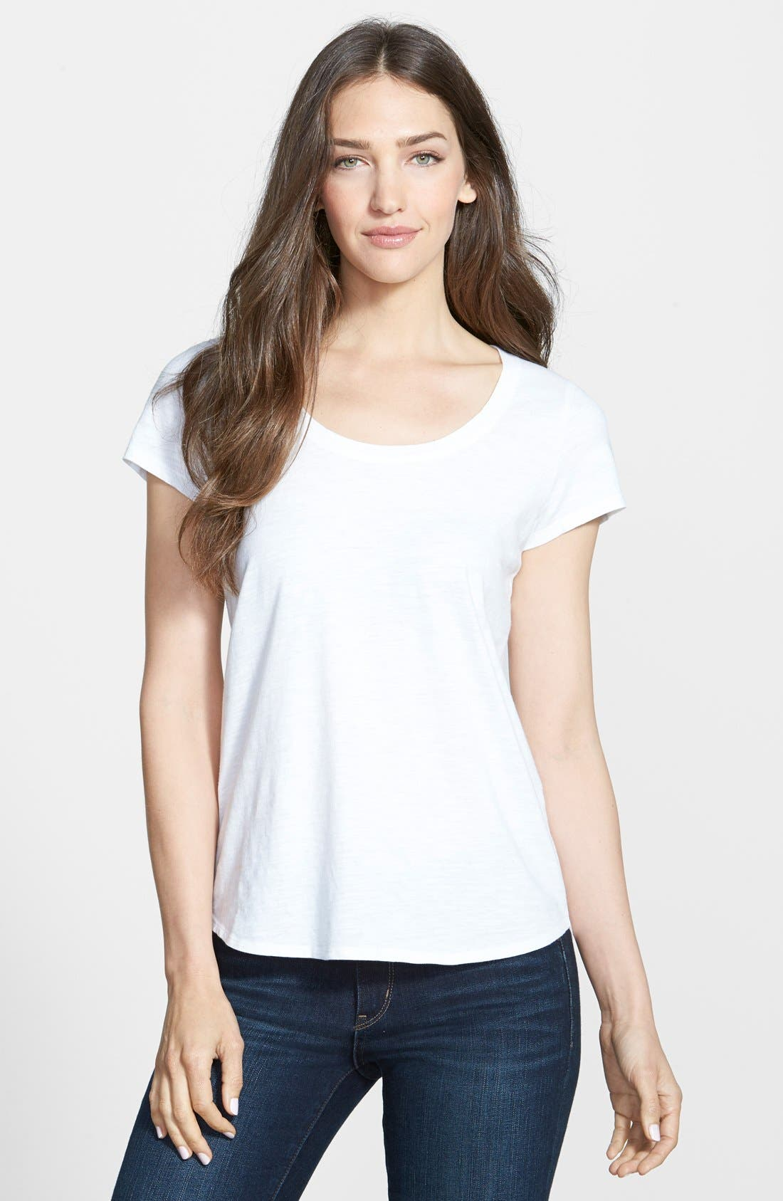 Alternate Image 1 Selected - Eileen Fisher Organic Cotton Scoop Neck Tee (Online Only)