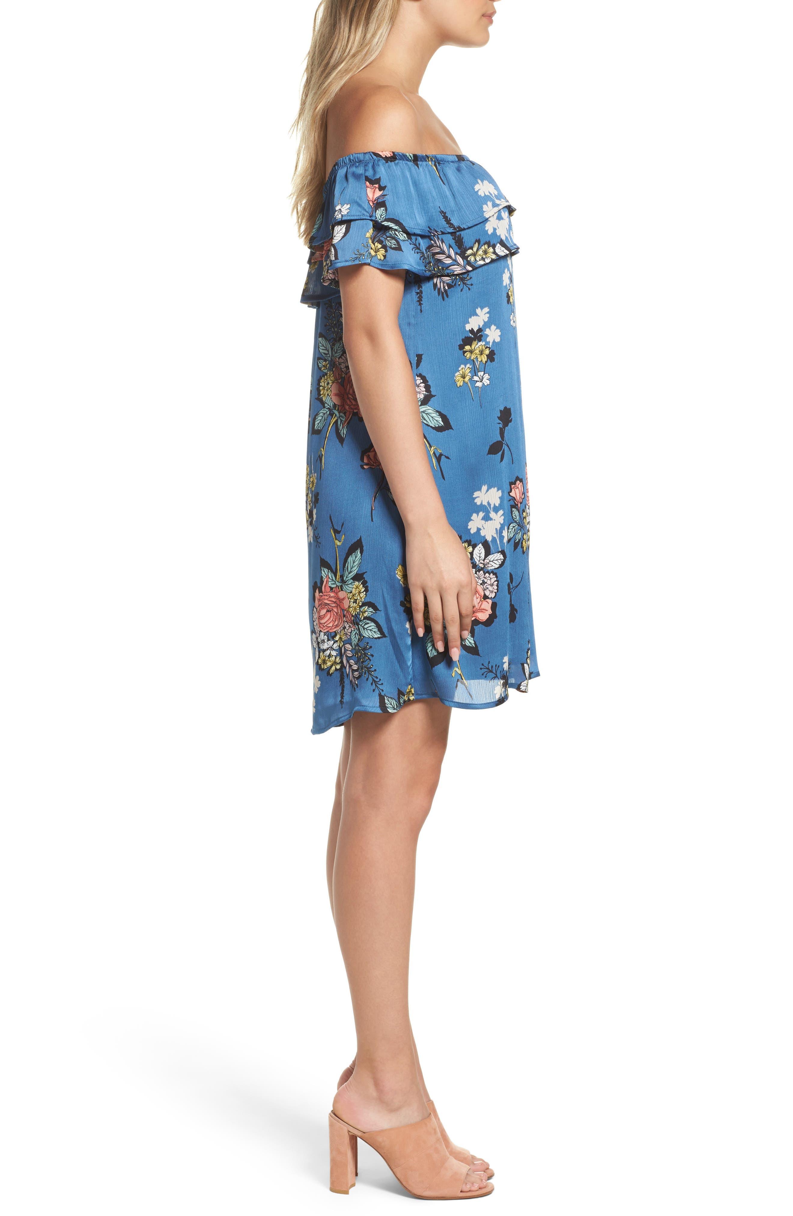 Off the Shoulder Ruffle Dress,                             Alternate thumbnail 3, color,                             Charcoal Flower Blue
