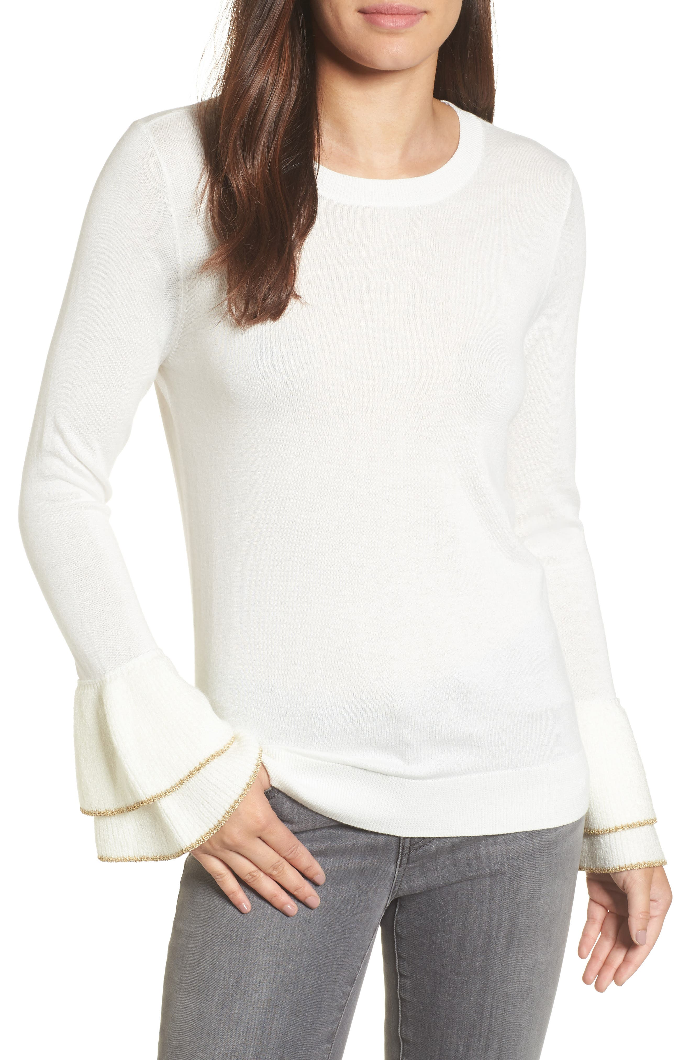 Halogen® Metallic Trim Flare Cuff Sweater (Regular & Petite)