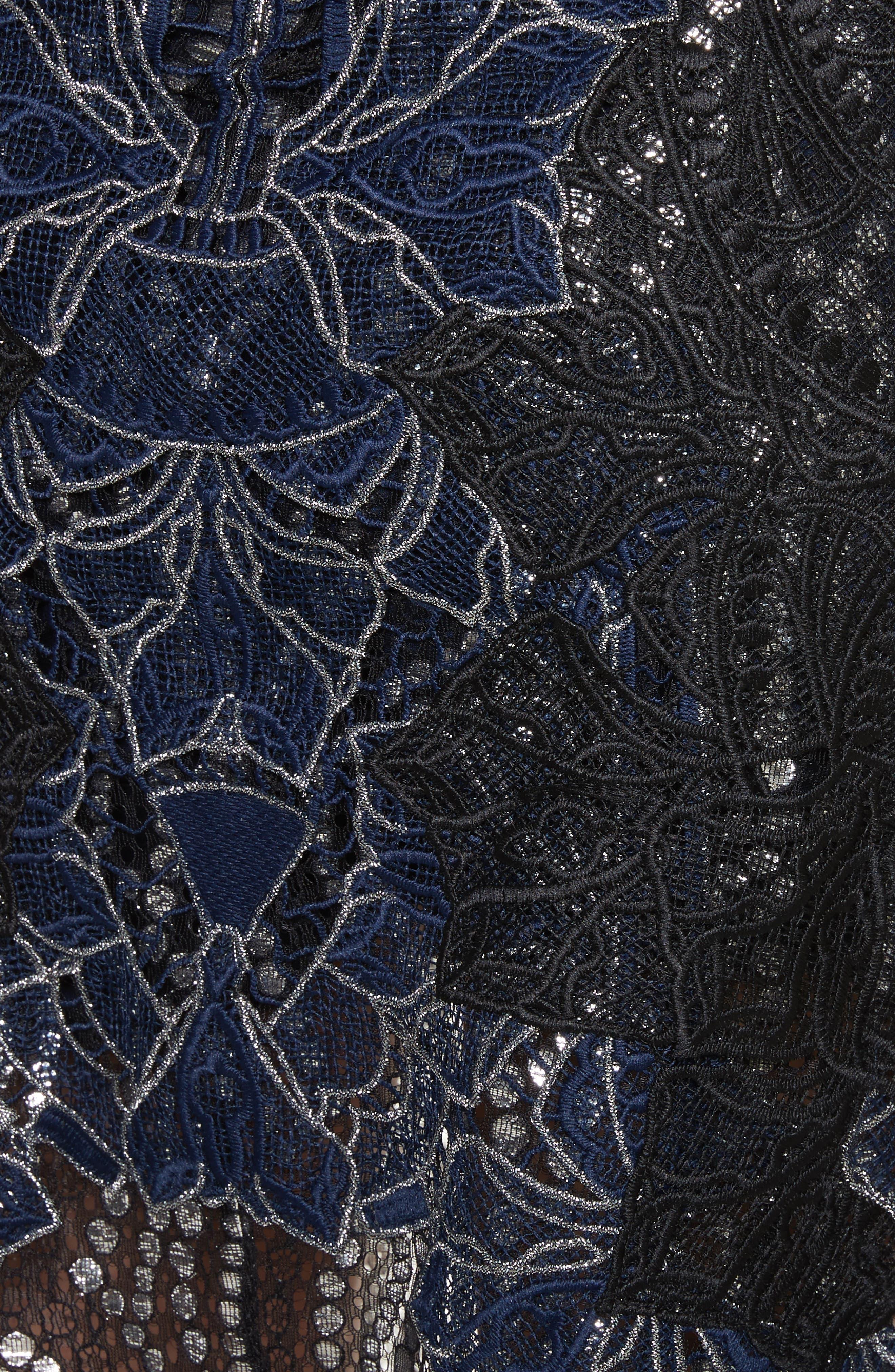 Dimensional Metallic Appliqué Trumpet Skirt,                             Alternate thumbnail 5, color,                             Black