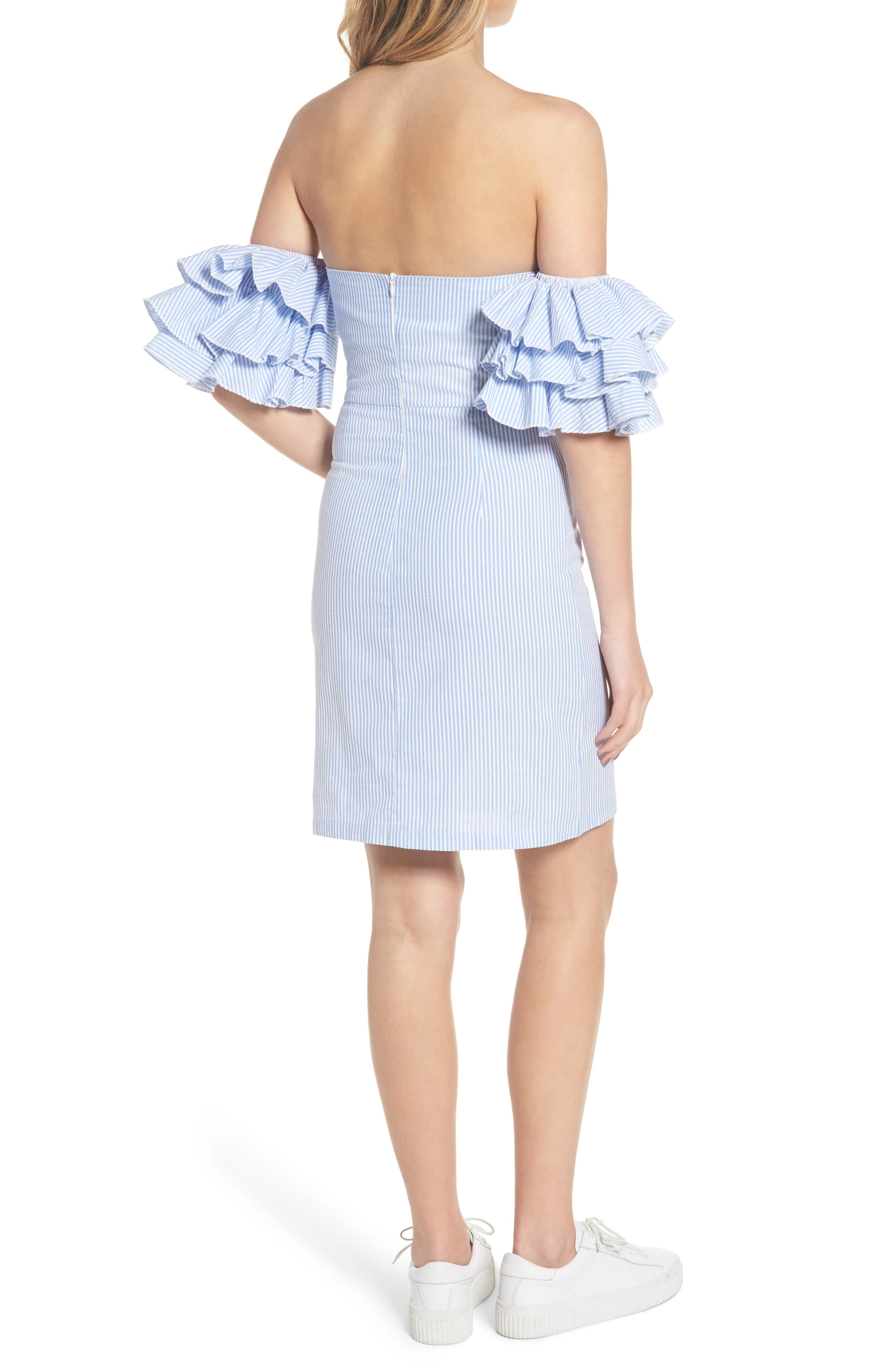 The Malibu Off the Shoulder Dress,                             Alternate thumbnail 4, color,                             Pinstriped Blue