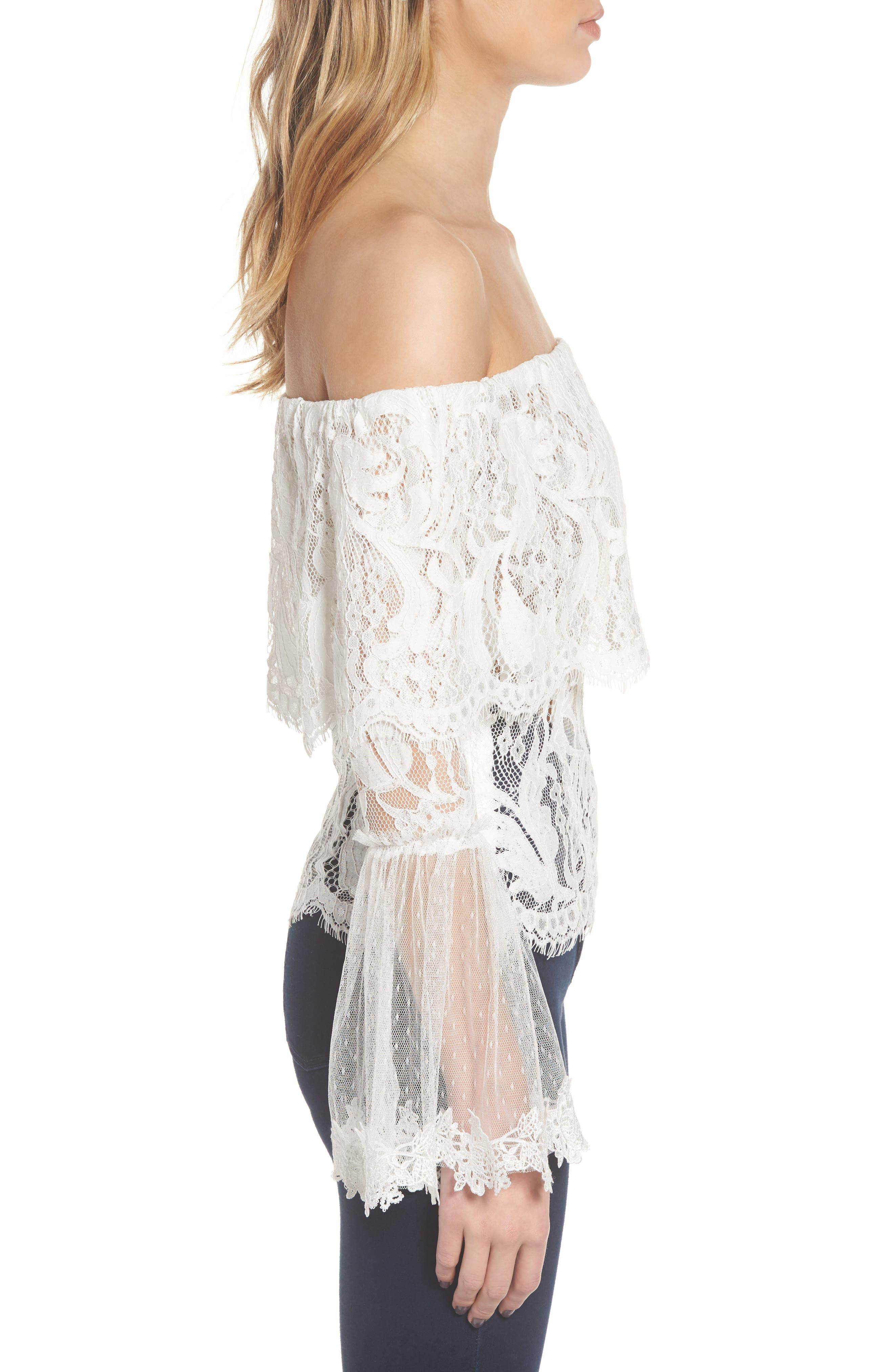 If You Dare Lace Off the Shoulder Blouse,                             Alternate thumbnail 3, color,                             Ivory