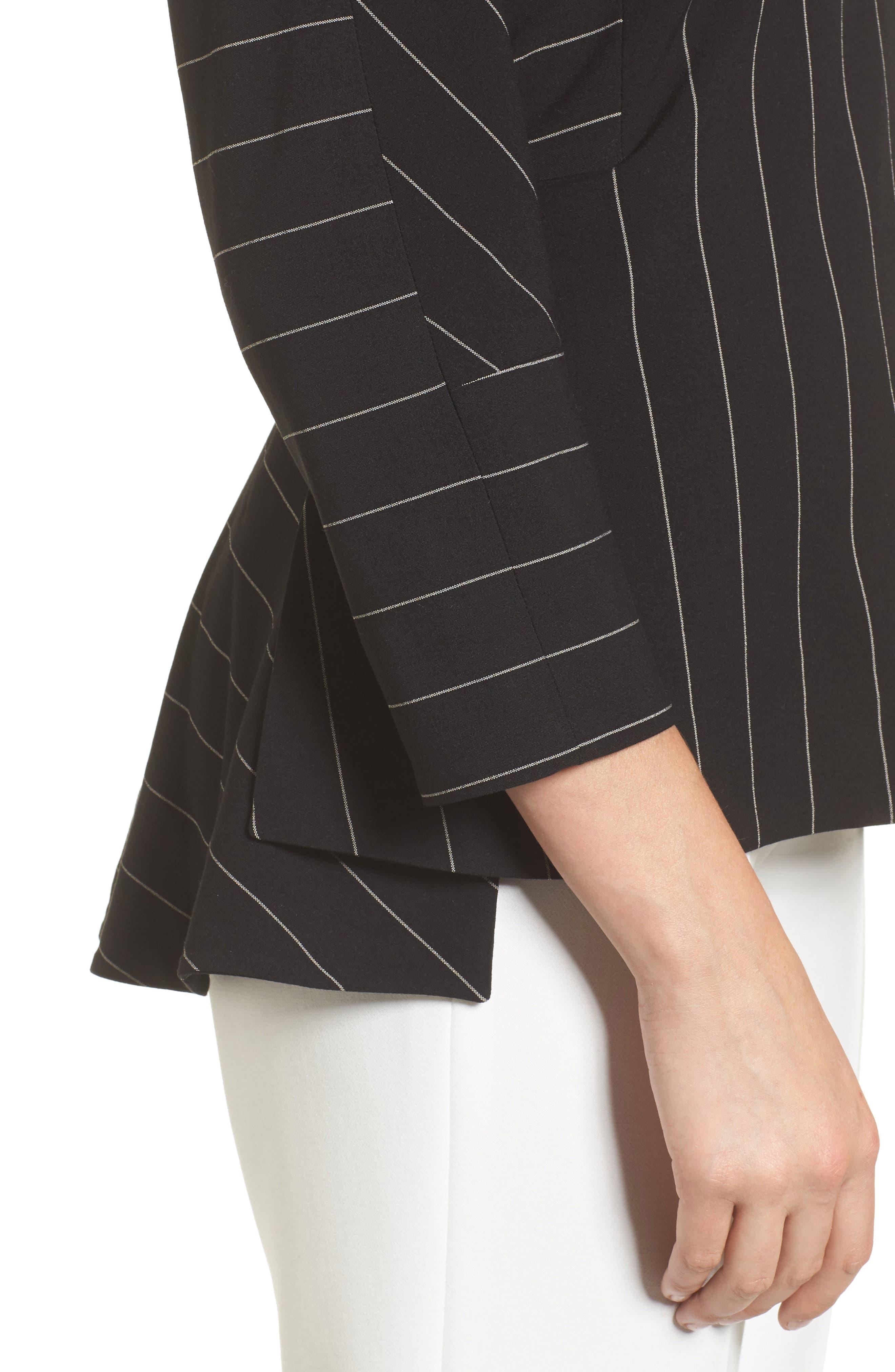 Pinstripe Blouse,                             Alternate thumbnail 4, color,                             Black/ White