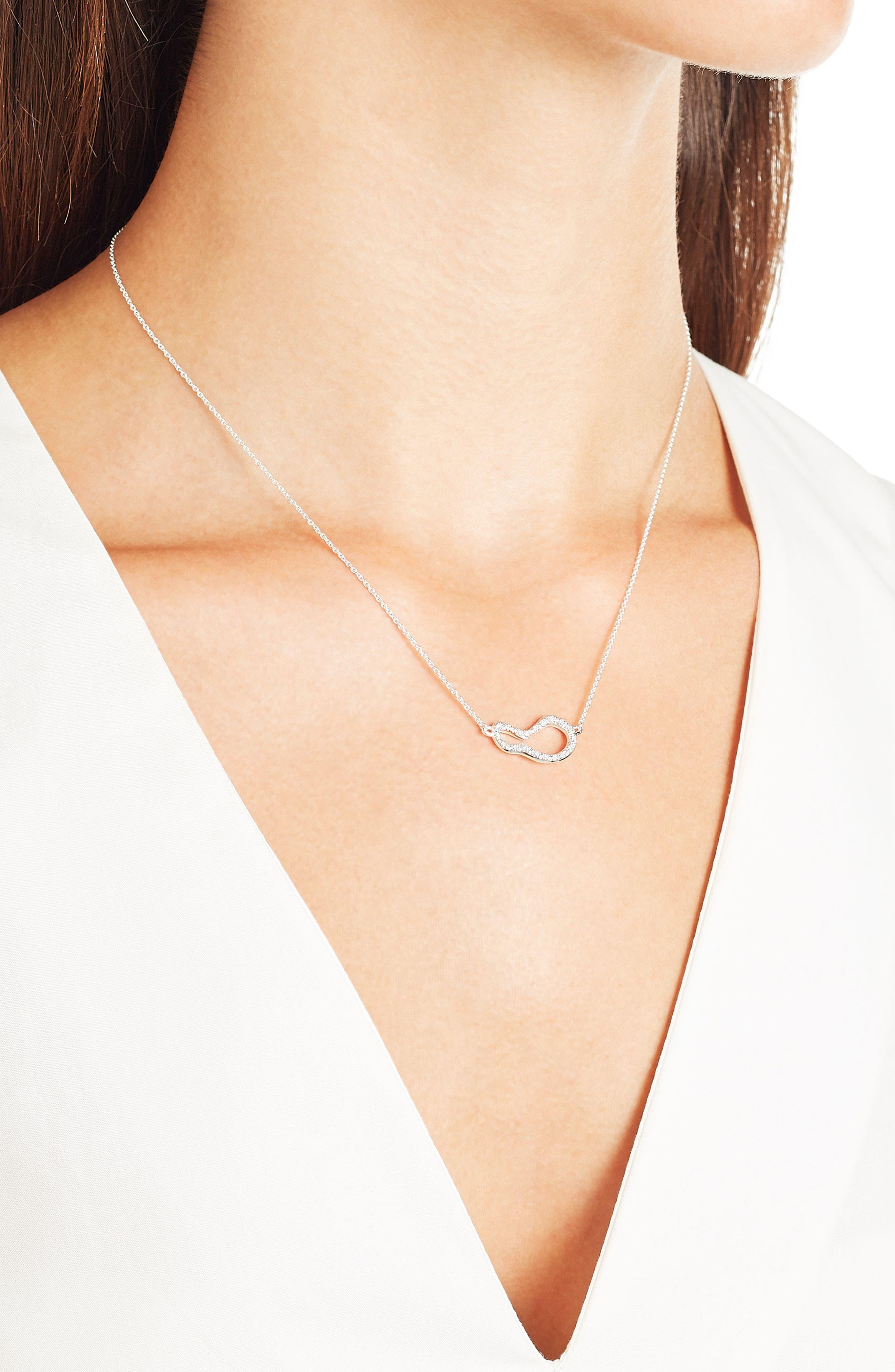 Small Pod Diamond Necklace,                             Alternate thumbnail 2, color,                             Silver