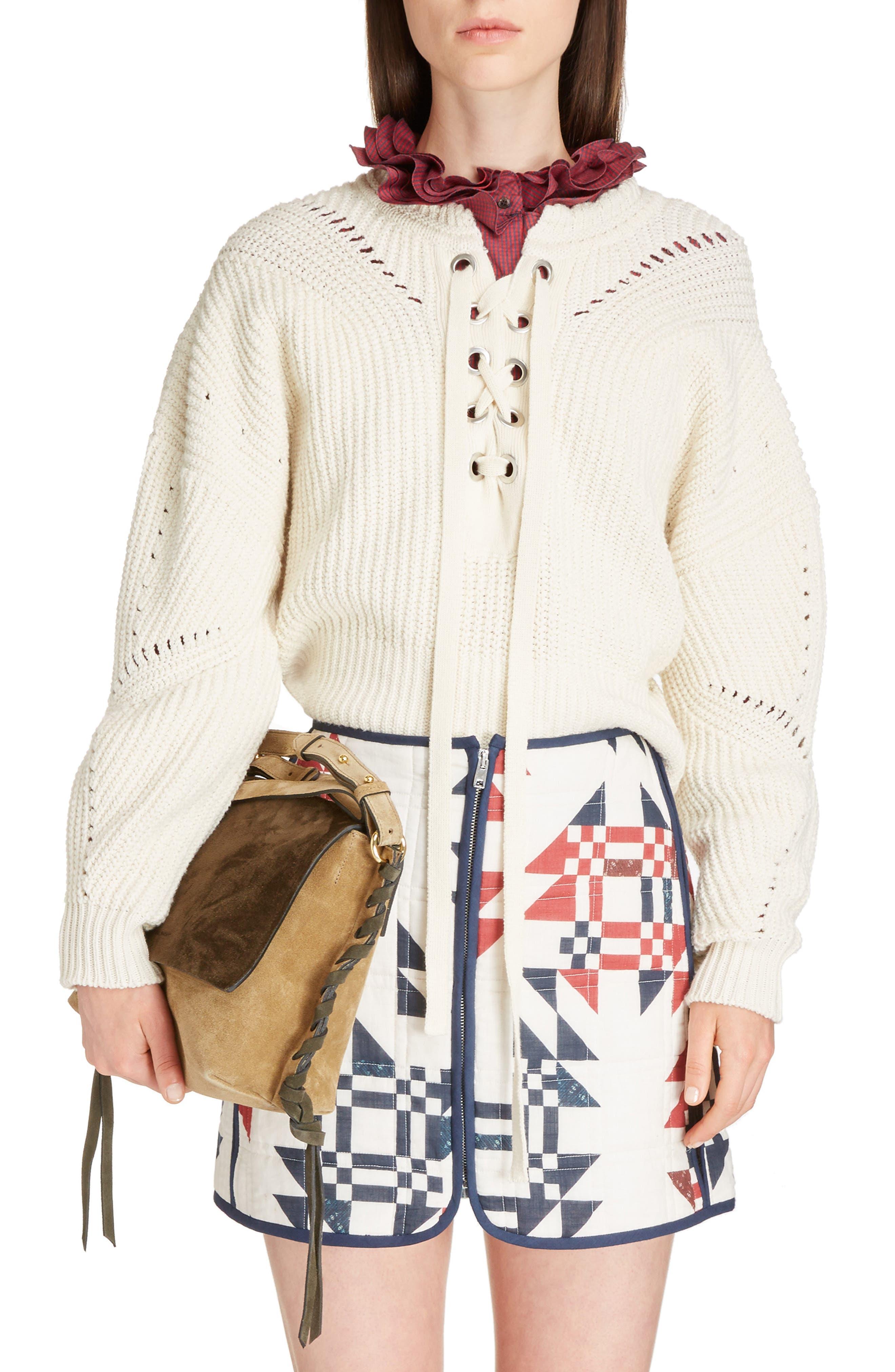 Laley Cotton & Wool Blend Sweater,                             Main thumbnail 1, color,                             Ecru