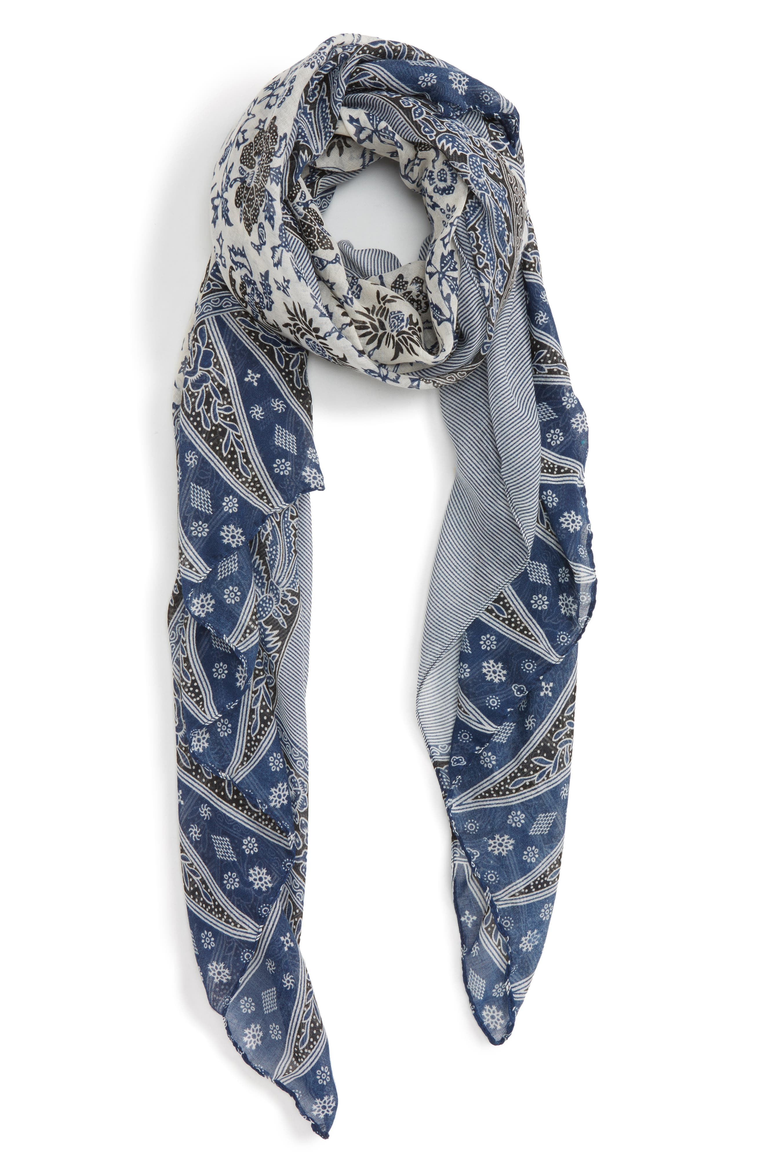 Accessory Collective Patchwork Oblong Scarf,                         Main,                         color, Blue
