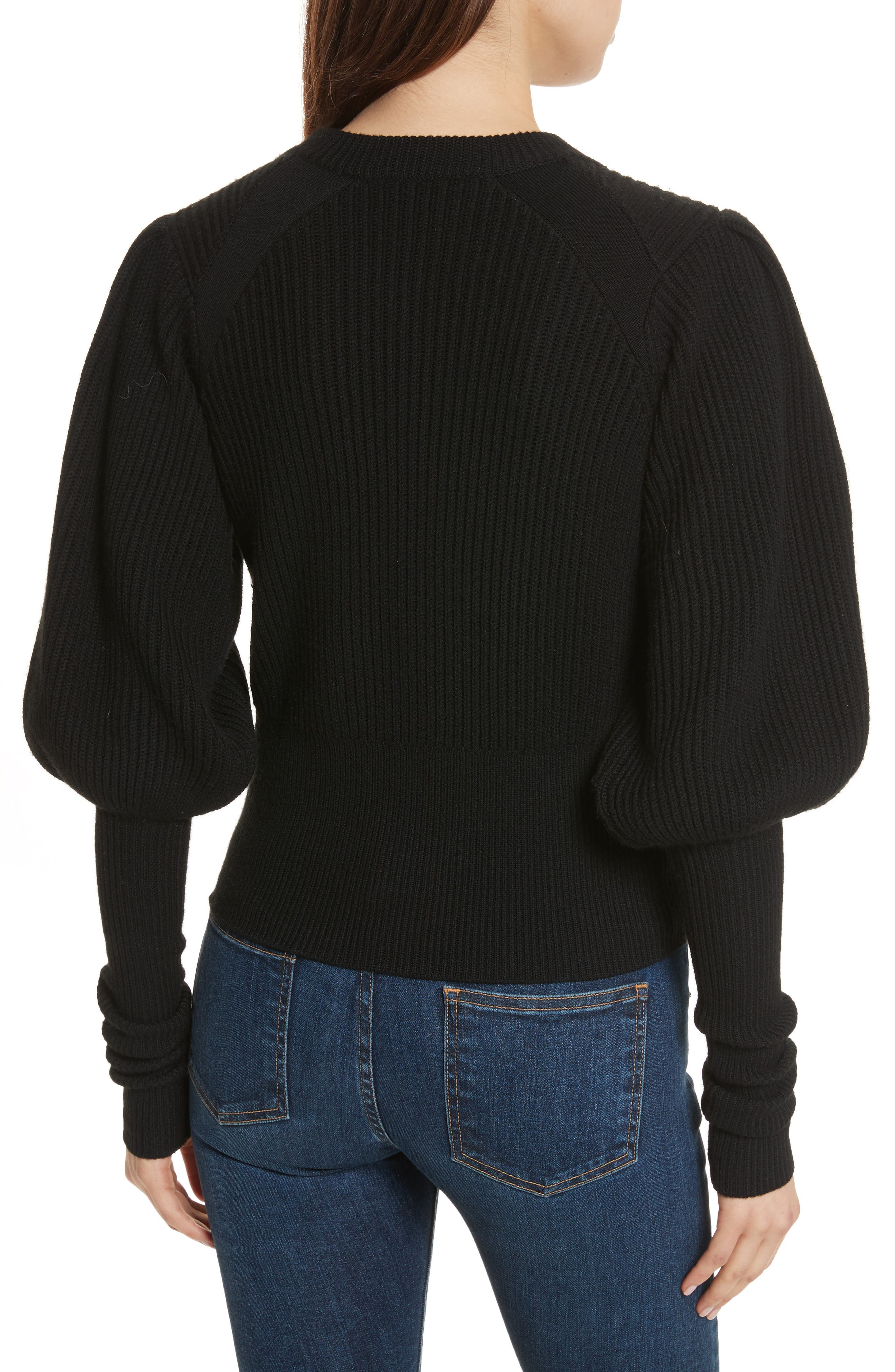 Jude Leg of Mutton Sleeve Sweater,                             Alternate thumbnail 2, color,                             Black