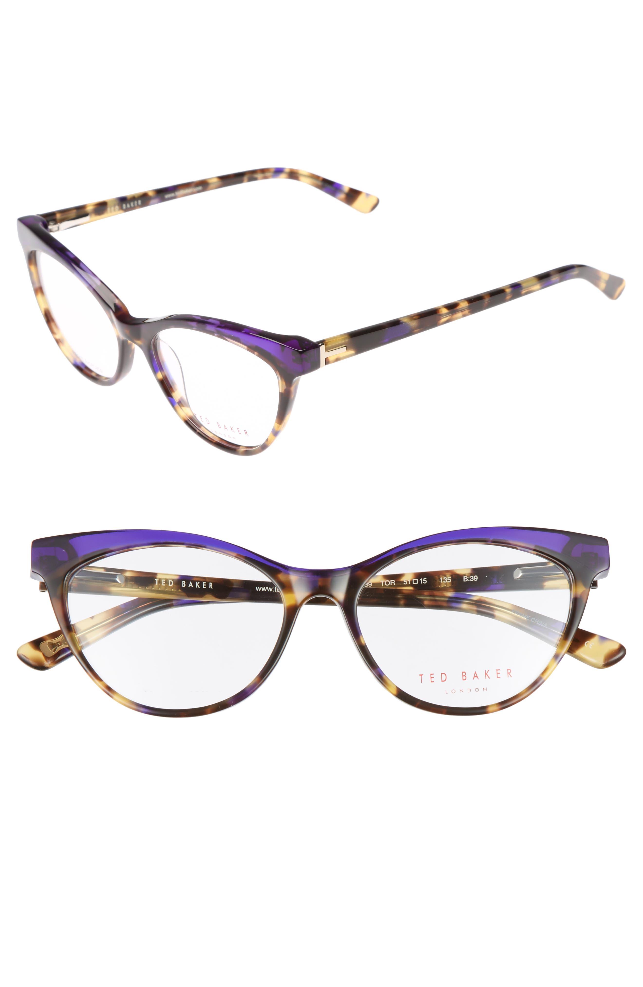 51mm Optical Cat Eye Glasses,                         Main,                         color, Brown