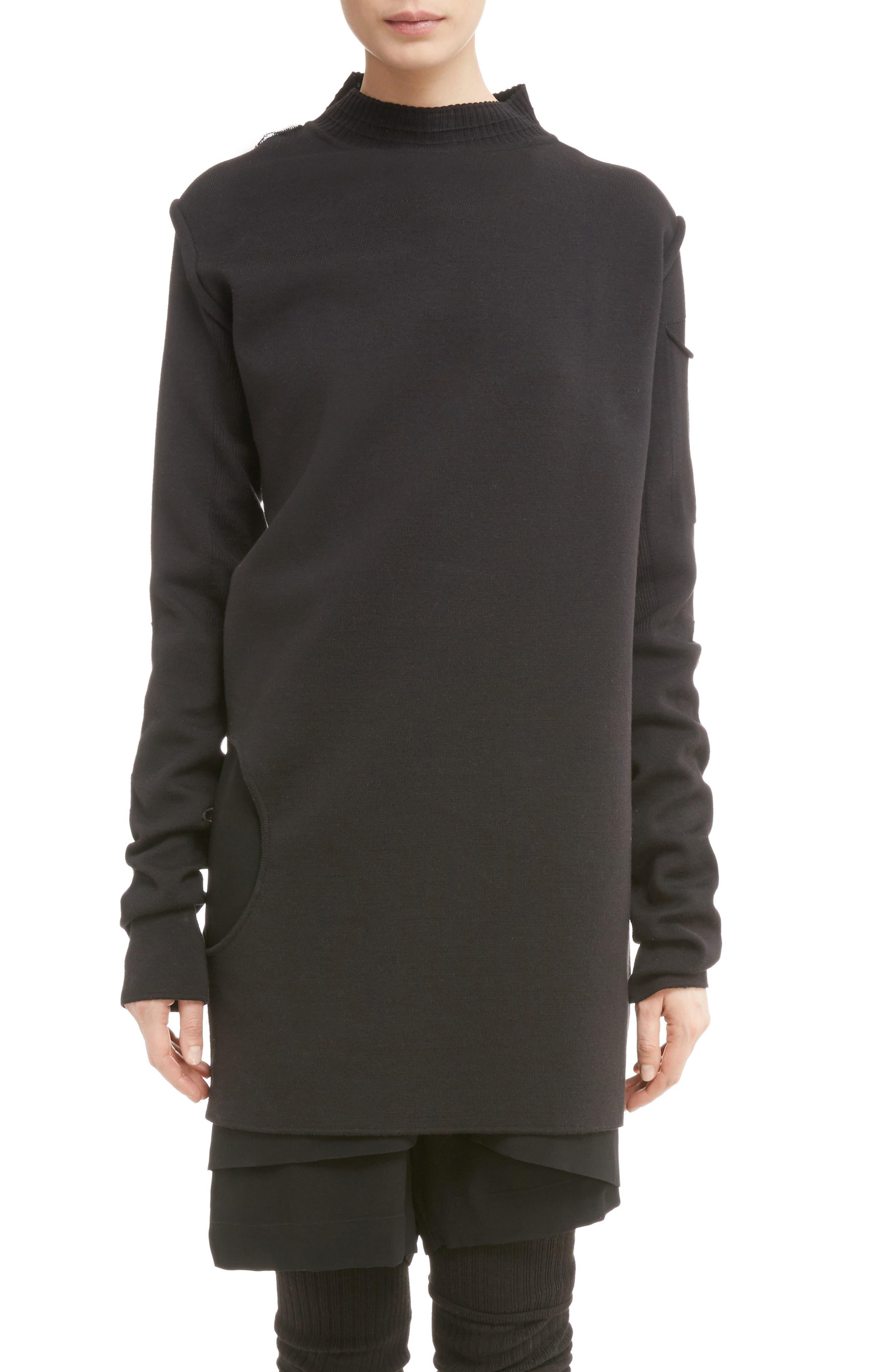 Rick Owens Subhuman Merino Wool Convertible Sweater