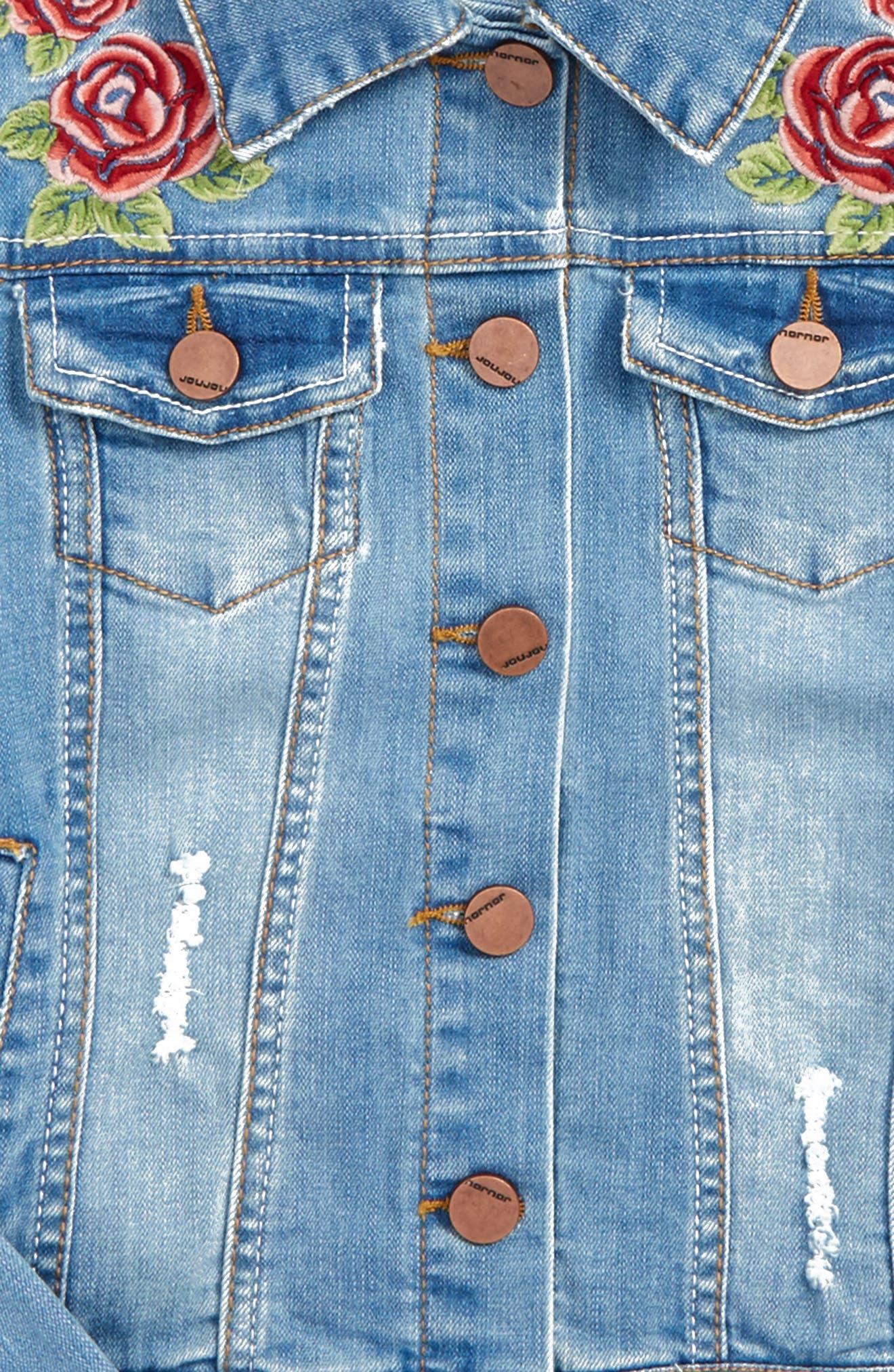 Alternate Image 2  - Jou Jou Embroidered Denim Jacket (Big Girls)
