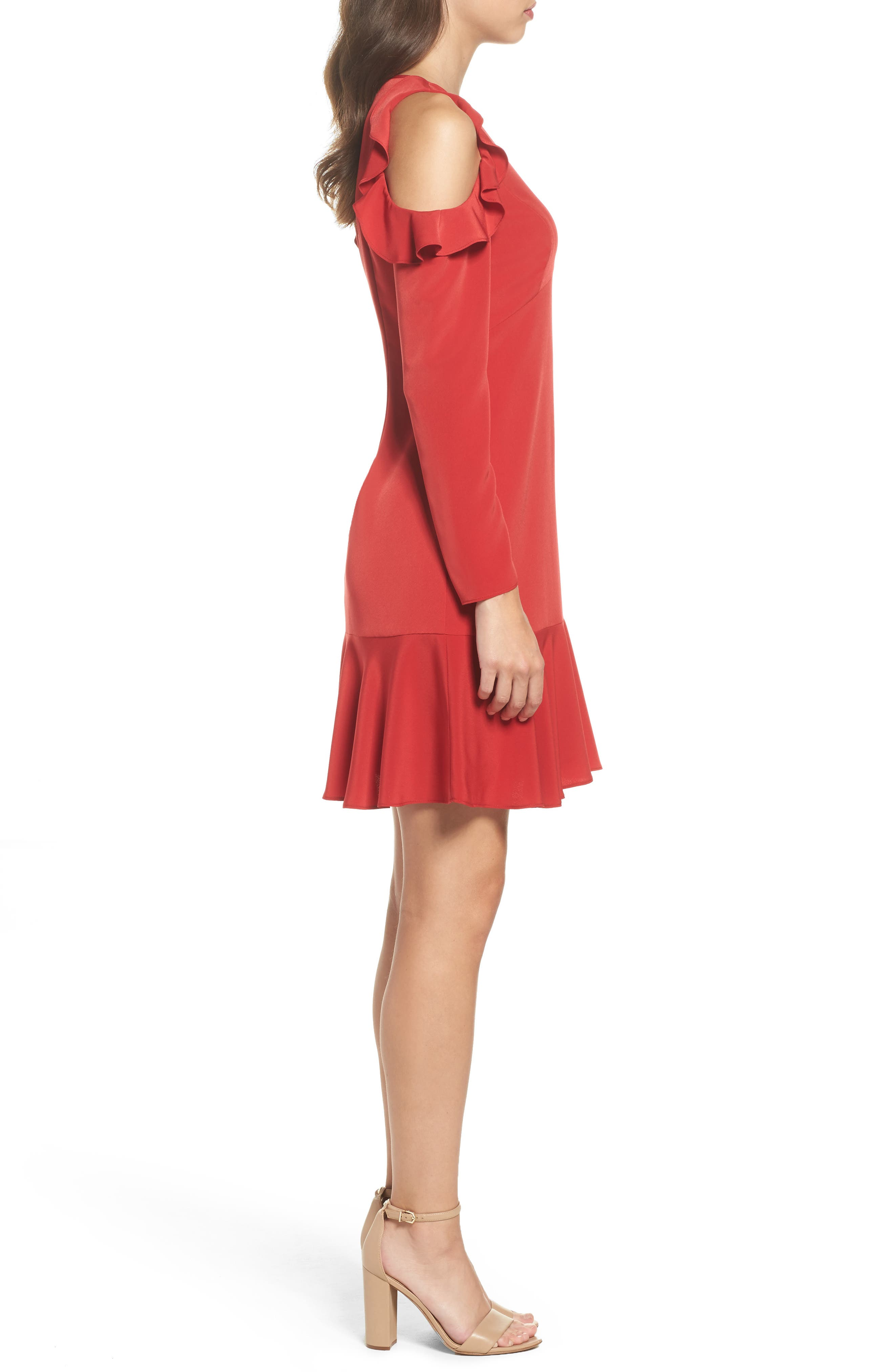 Ruffle Cold Shoulder Dress,                             Alternate thumbnail 3, color,                             Red