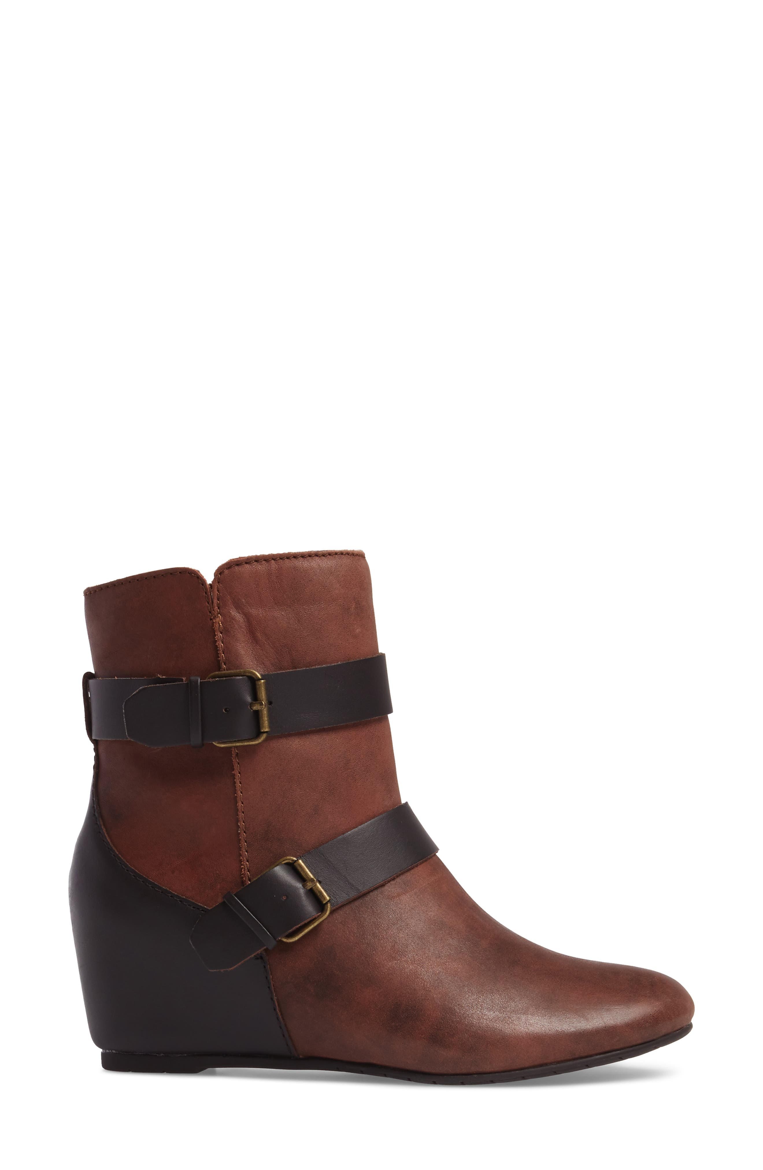 Ramika Wedge Bootie,                             Alternate thumbnail 3, color,                             Mahogany Leather